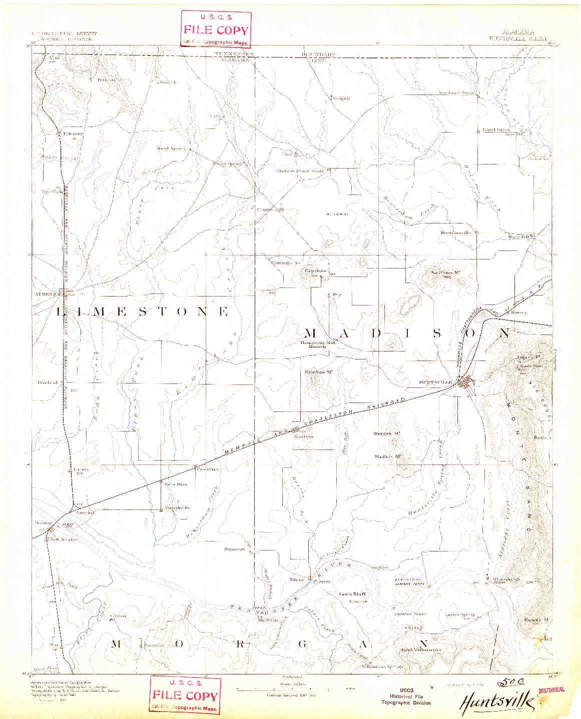 USGS 1:125000-SCALE QUADRANGLE FOR HUNTSVILLE, AL 1892