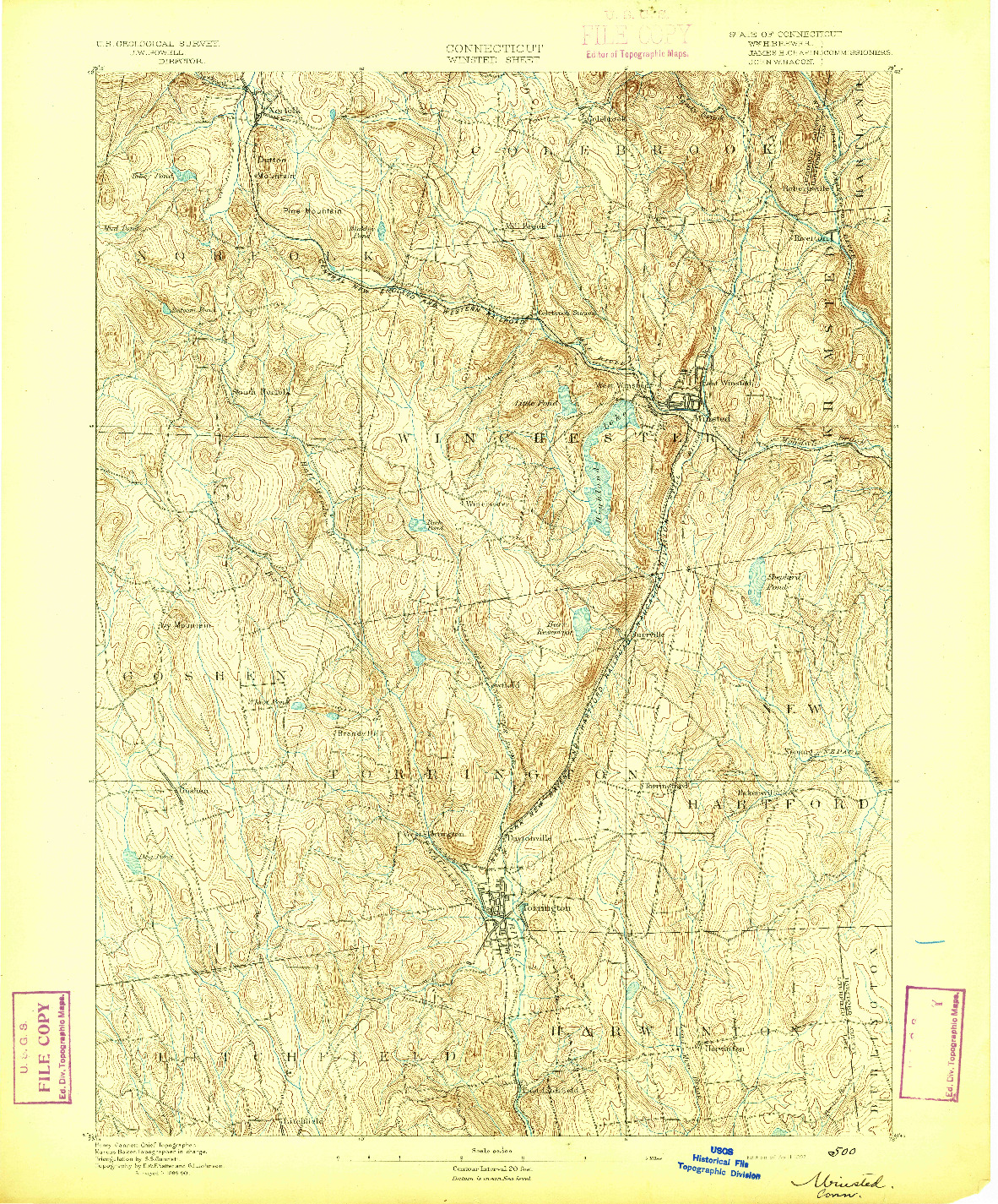 USGS 1:62500-SCALE QUADRANGLE FOR WINSTED, CT 1892