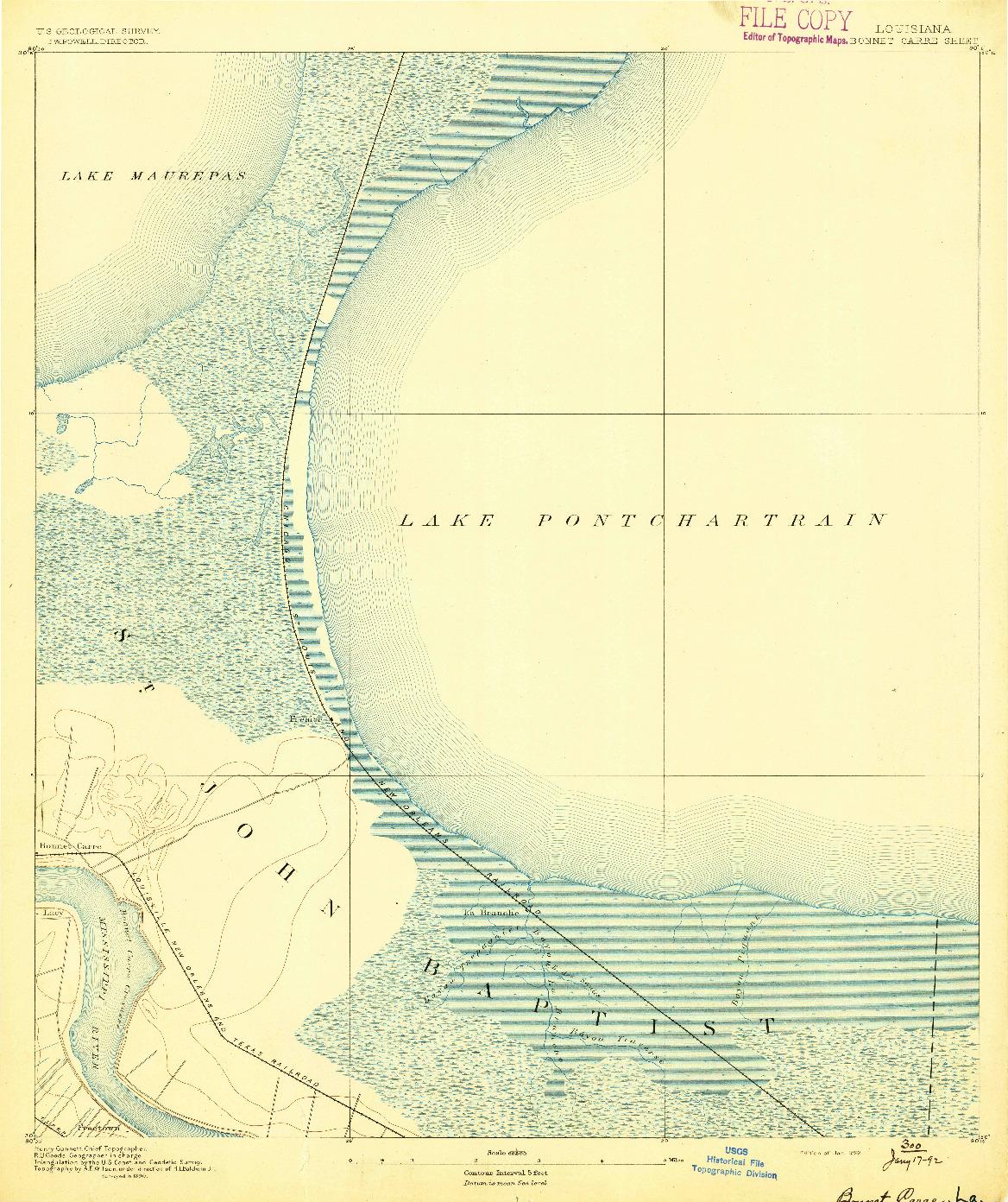 USGS 1:62500-SCALE QUADRANGLE FOR BONNET CARRE, LA 1892
