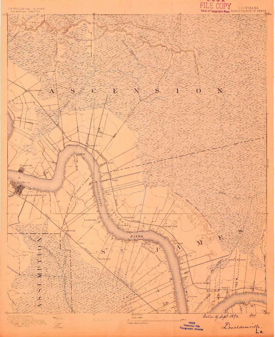 USGS 1:62500-SCALE QUADRANGLE FOR DONALDSONVILLE, LA 1892