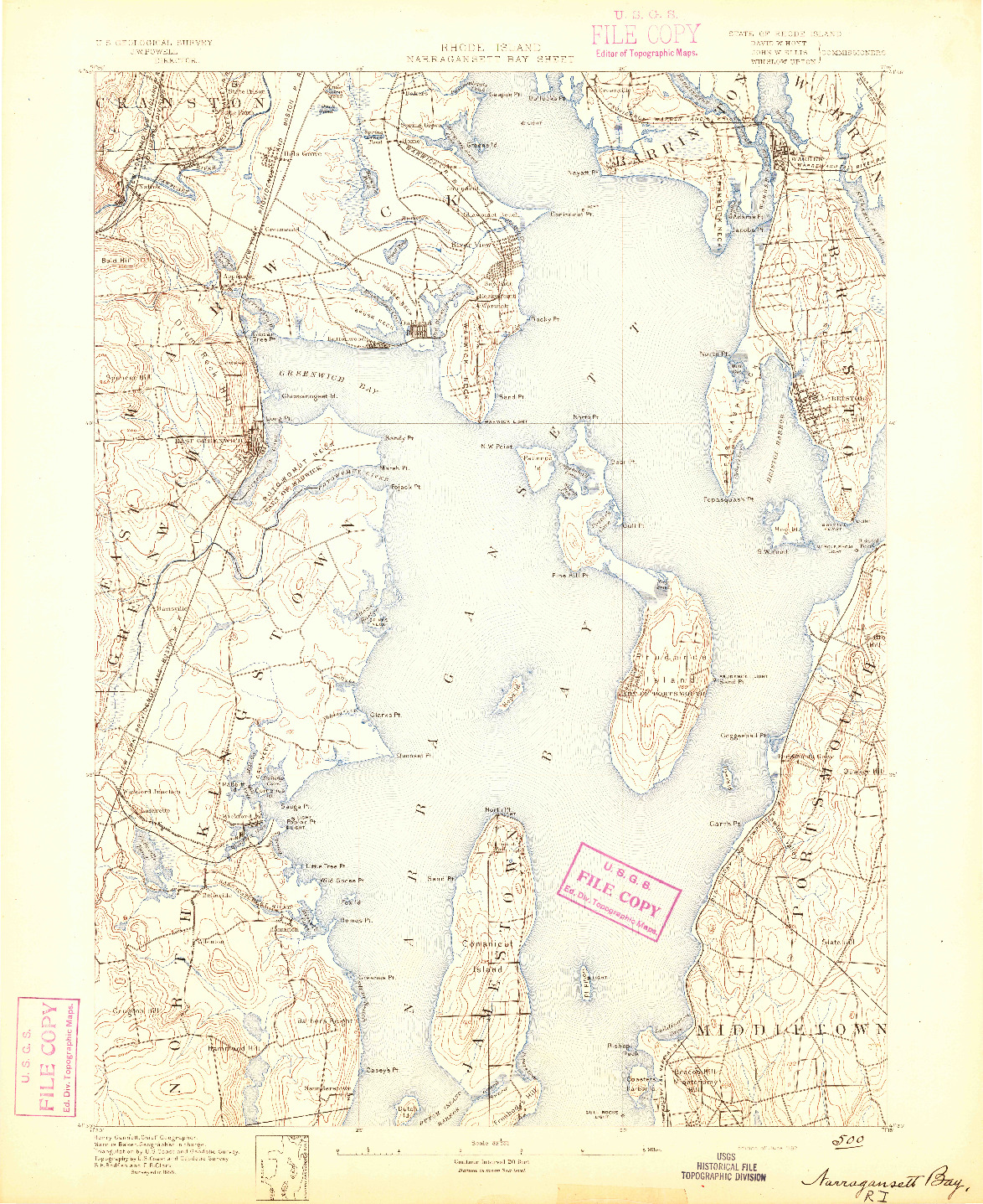 USGS 1:62500-SCALE QUADRANGLE FOR NARRAGANSETT BAY, RI 1892