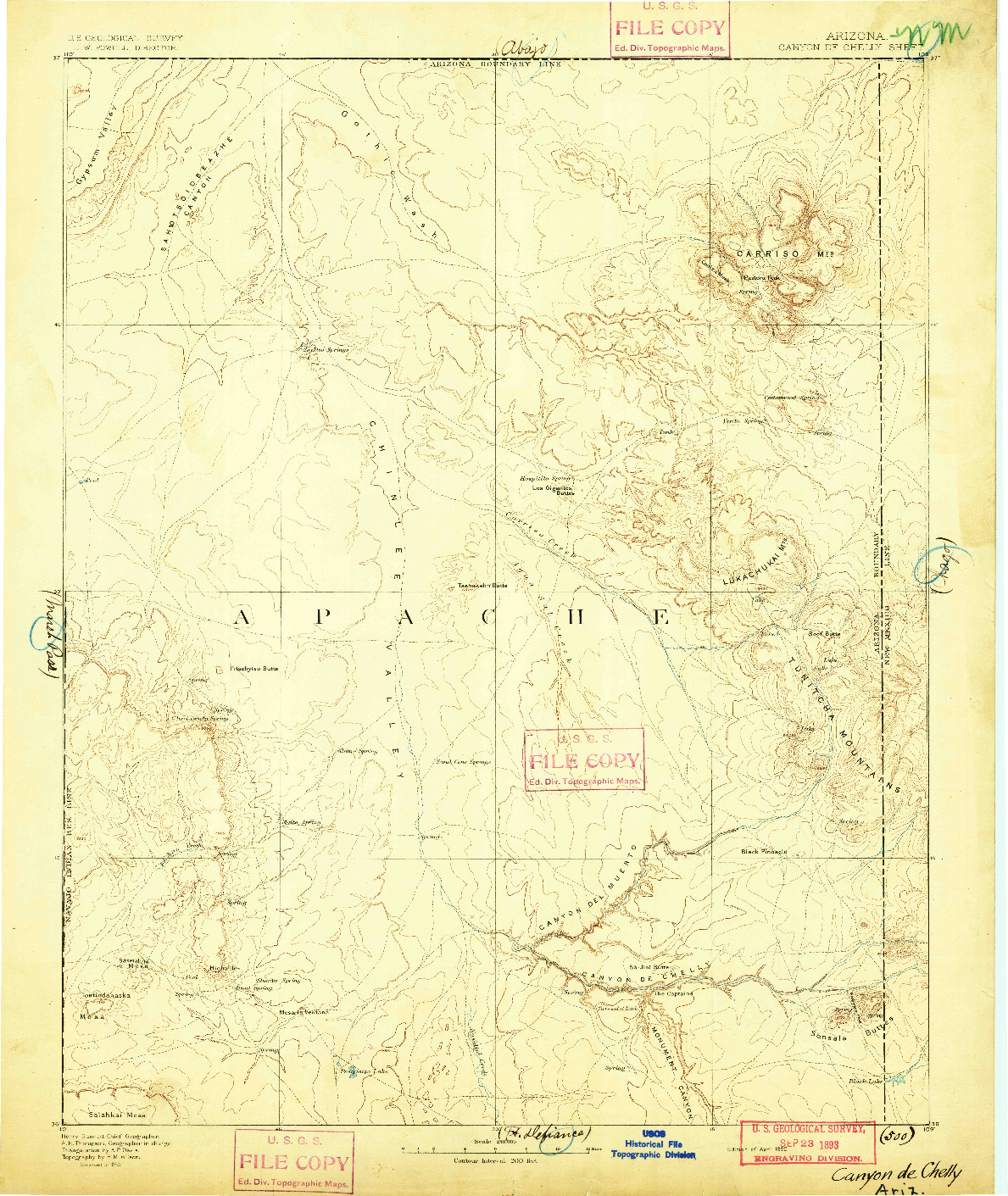 USGS 1:250000-SCALE QUADRANGLE FOR CANYON DE CHELLY, AZ 1892