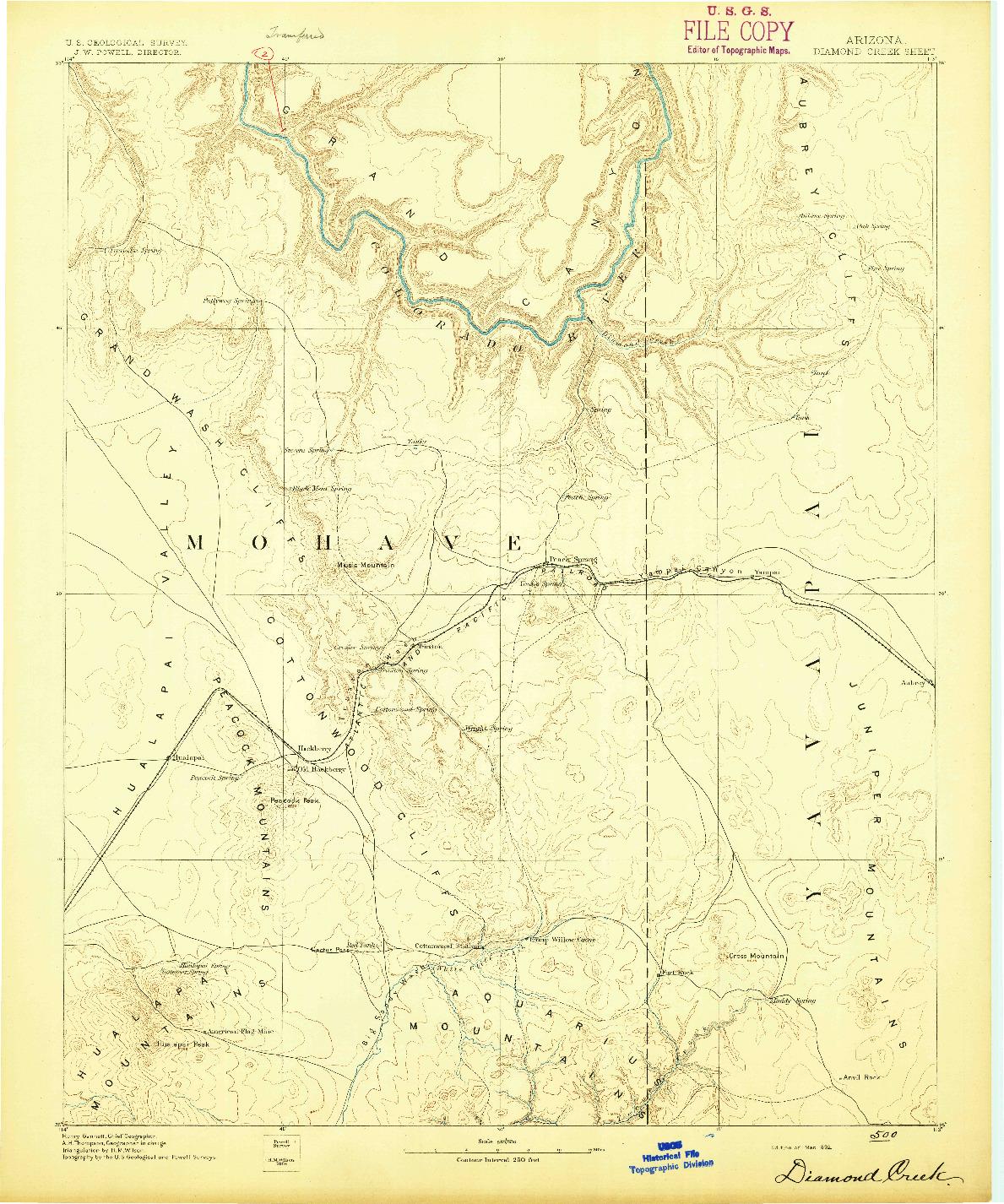 USGS 1:250000-SCALE QUADRANGLE FOR DIAMOND CREEK, AZ 1892