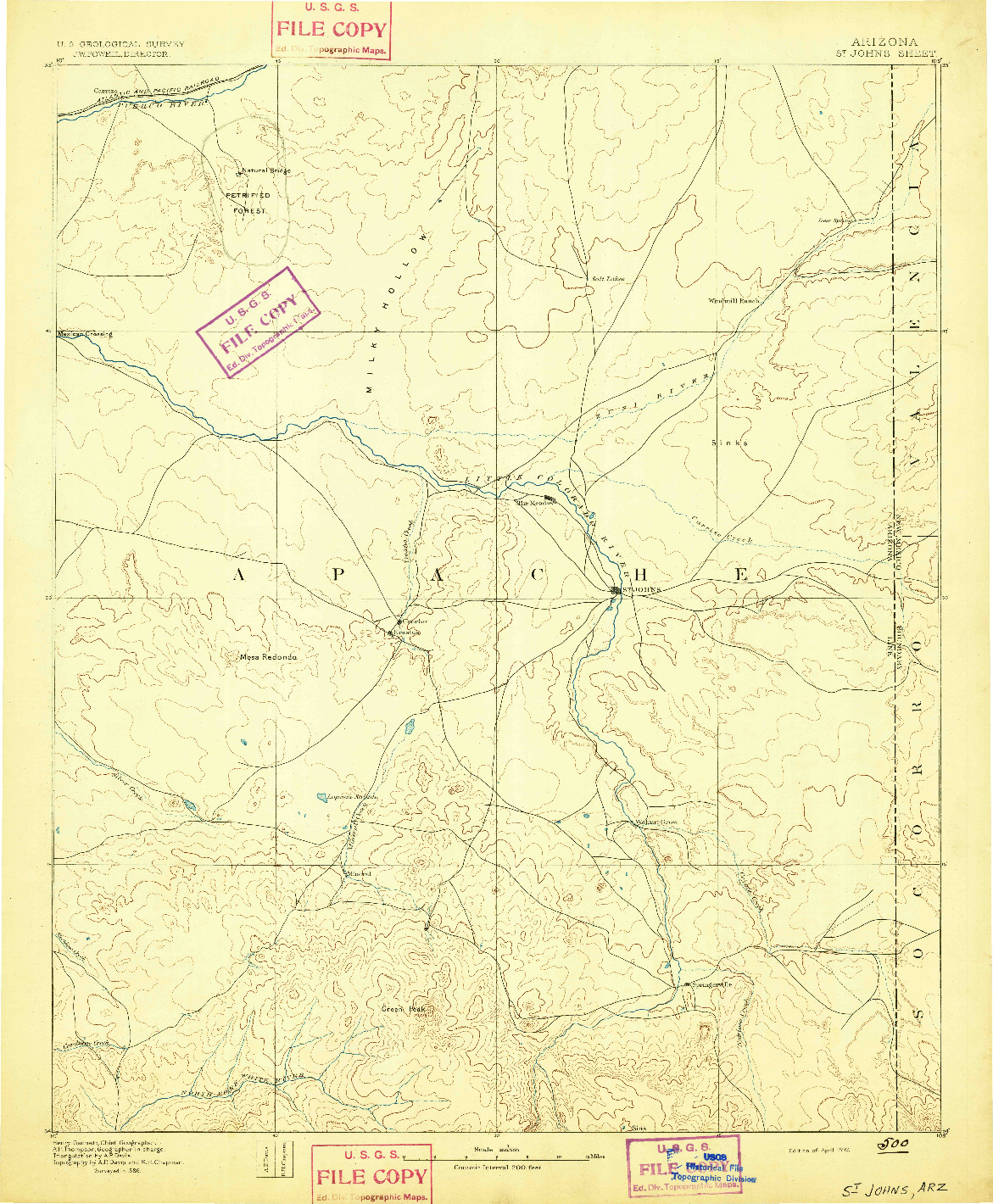 USGS 1:250000-SCALE QUADRANGLE FOR ST JOHNS, AZ 1892