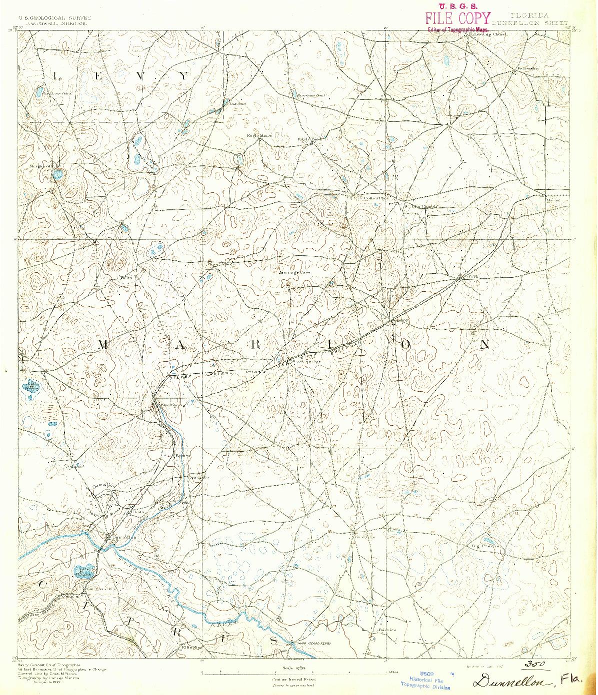 USGS 1:62500-SCALE QUADRANGLE FOR DUNNELLON, FL 1892