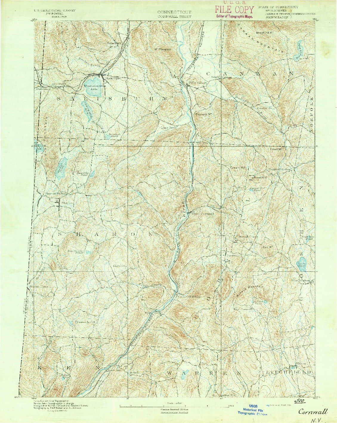 USGS 1:62500-SCALE QUADRANGLE FOR CORNWALL, CT 1892