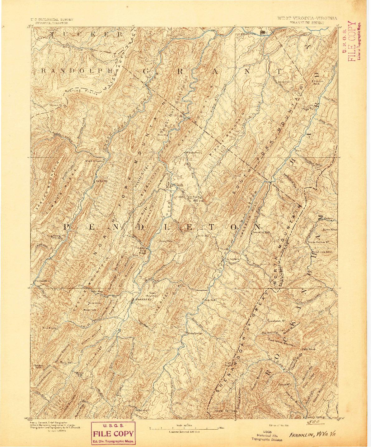 USGS 1:125000-SCALE QUADRANGLE FOR FRANKLIN, WV 1892