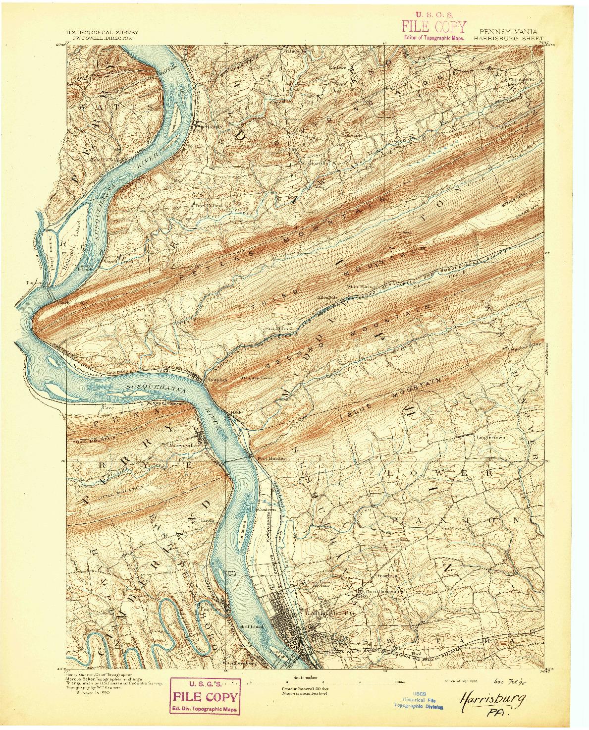 USGS 1:62500-SCALE QUADRANGLE FOR HARRISBURG, PA 1892
