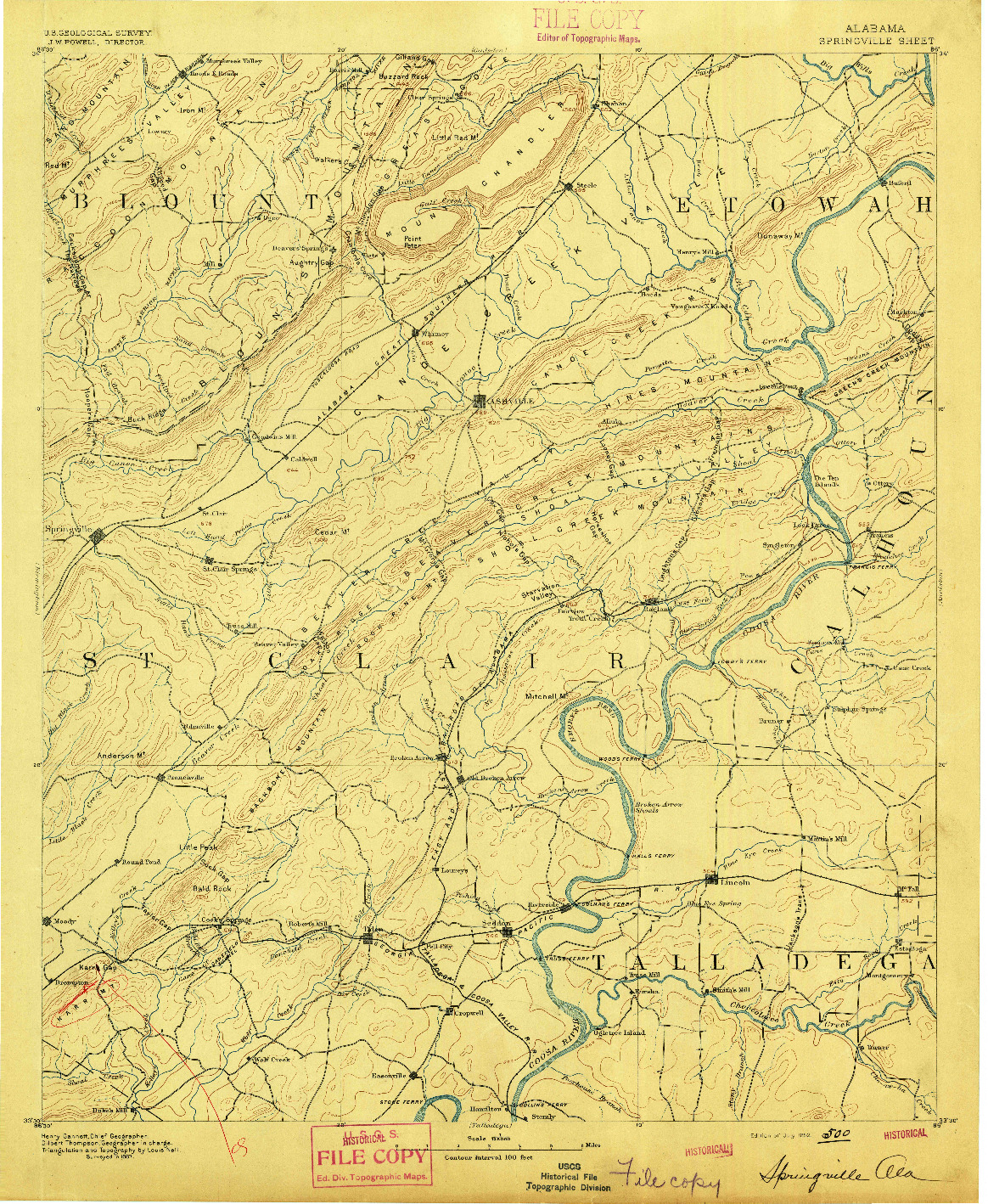 USGS 1:125000-SCALE QUADRANGLE FOR SPRINGVILLE, AL 1892