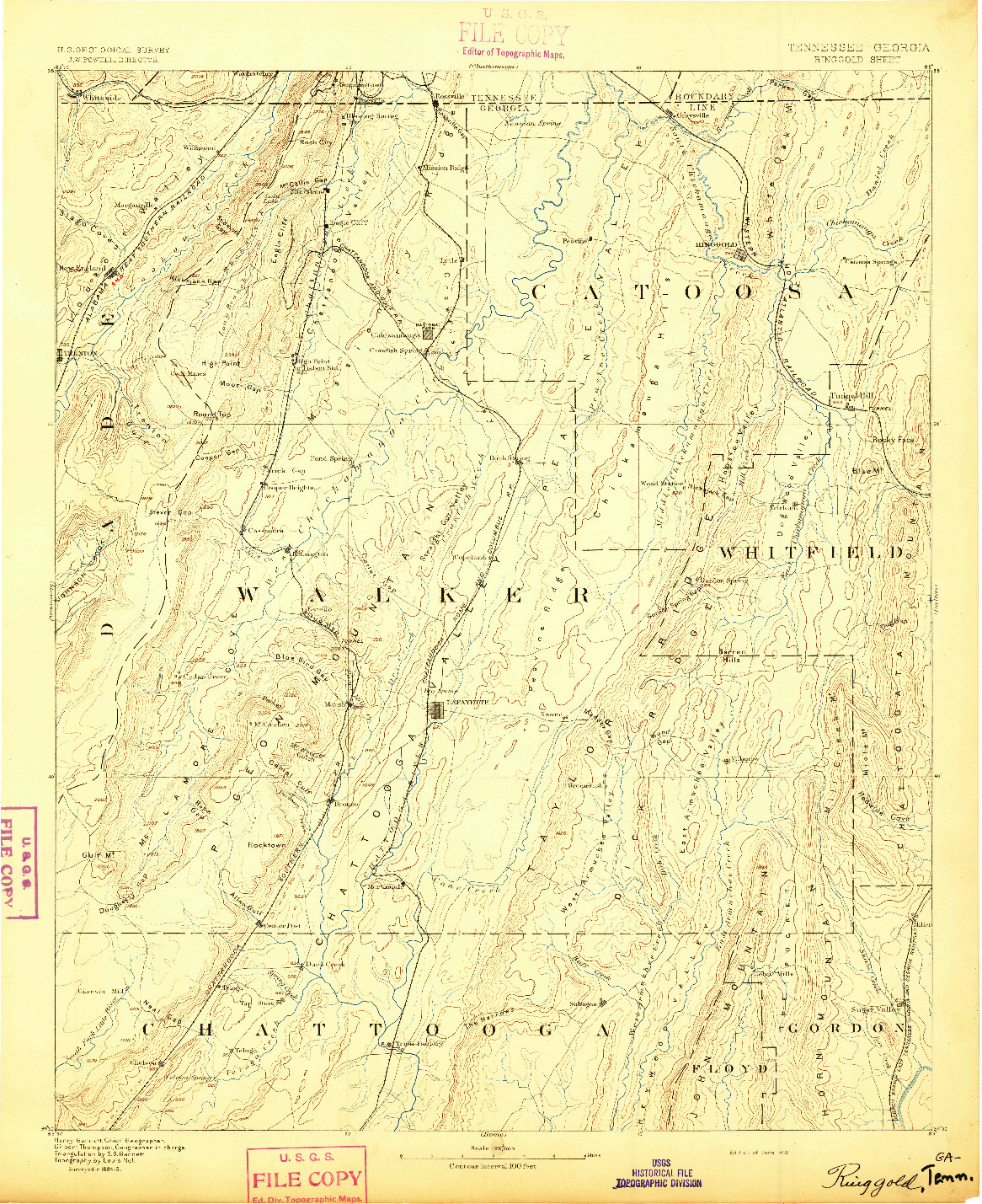 USGS 1:125000-SCALE QUADRANGLE FOR RINGGOLD, TN 1892