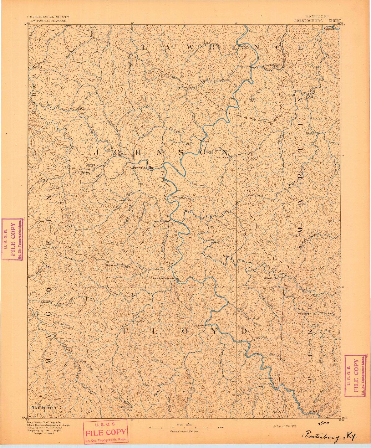 USGS 1:125000-SCALE QUADRANGLE FOR PRESTONSBURG, KY 1892