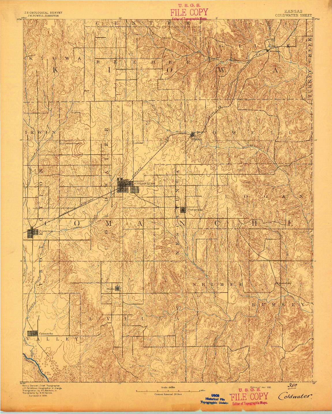 USGS 1:125000-SCALE QUADRANGLE FOR COLDWATER, KS 1892