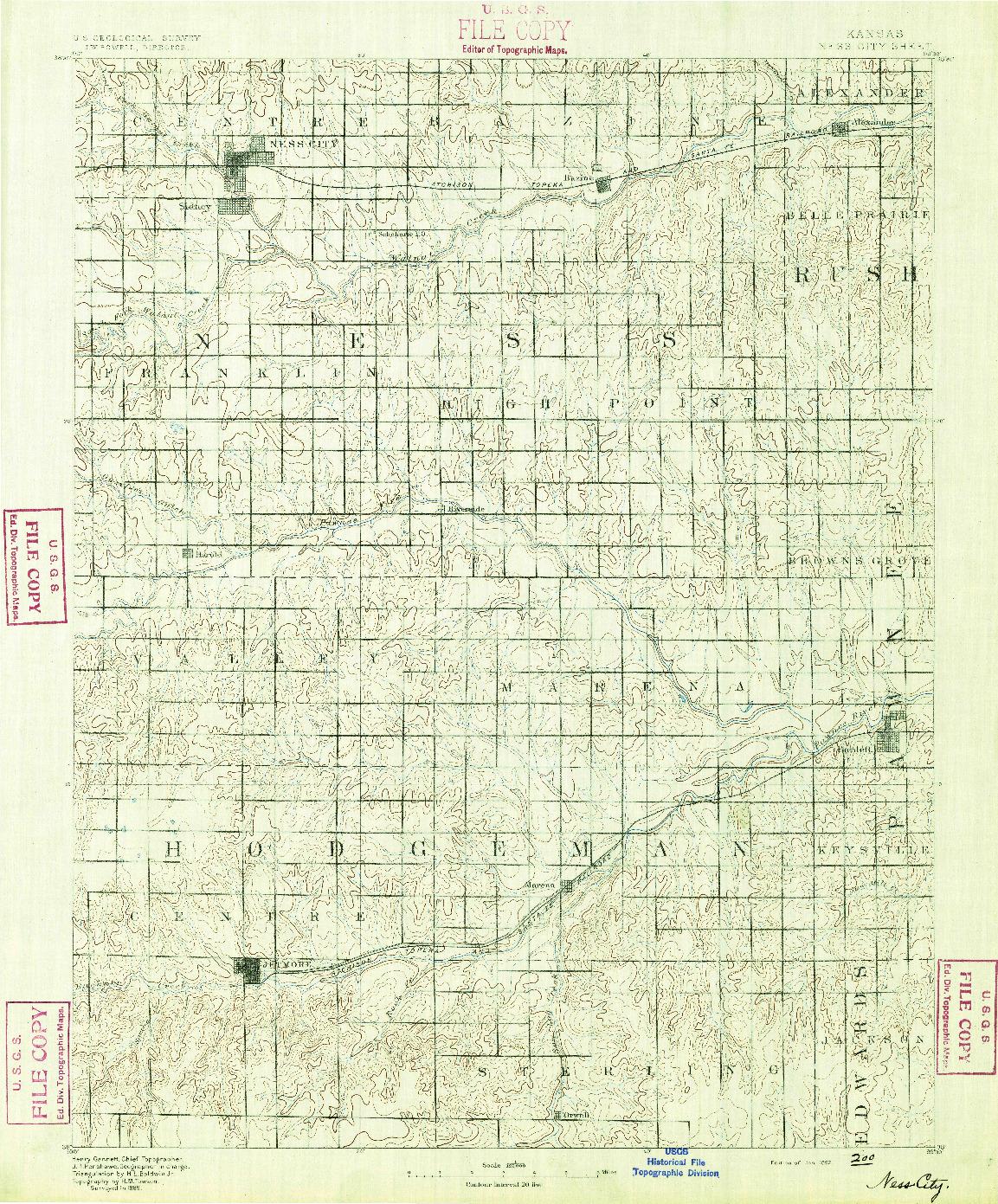 USGS 1:125000-SCALE QUADRANGLE FOR NESS, KS 1892