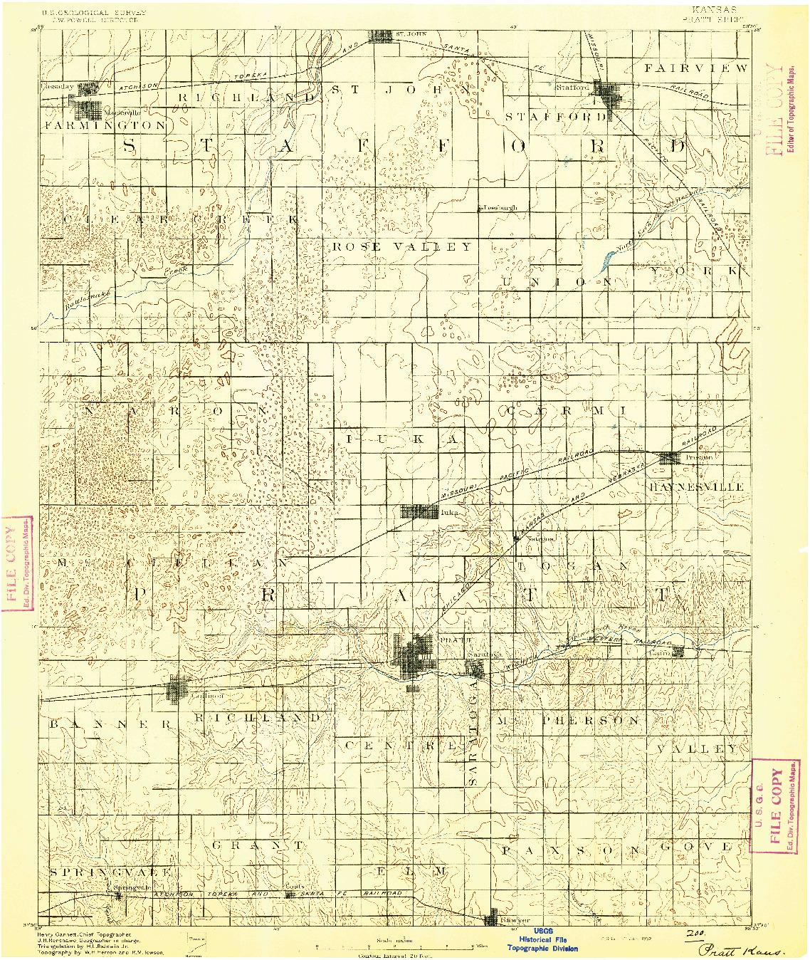 USGS 1:125000-SCALE QUADRANGLE FOR PRATT, KS 1892