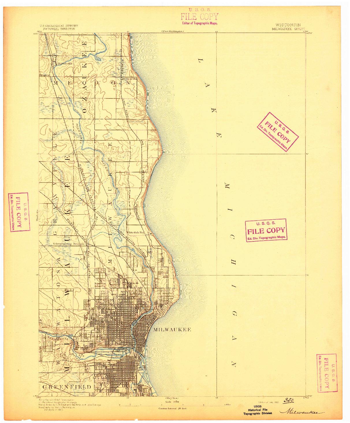 USGS 1:62500-SCALE QUADRANGLE FOR MILWAUKEE, WI 1892