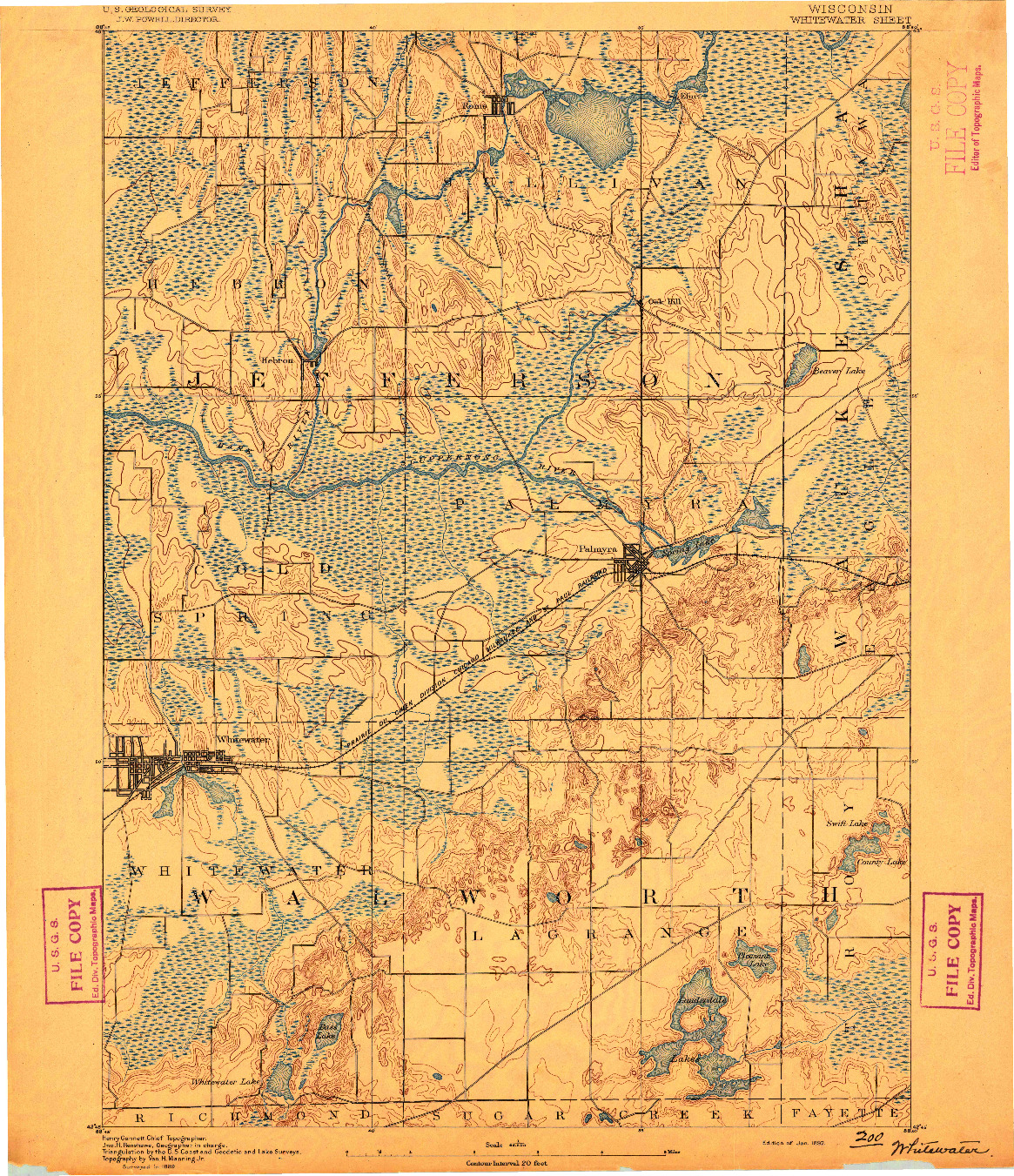 USGS 1:62500-SCALE QUADRANGLE FOR WHITEWATER, WI 1892