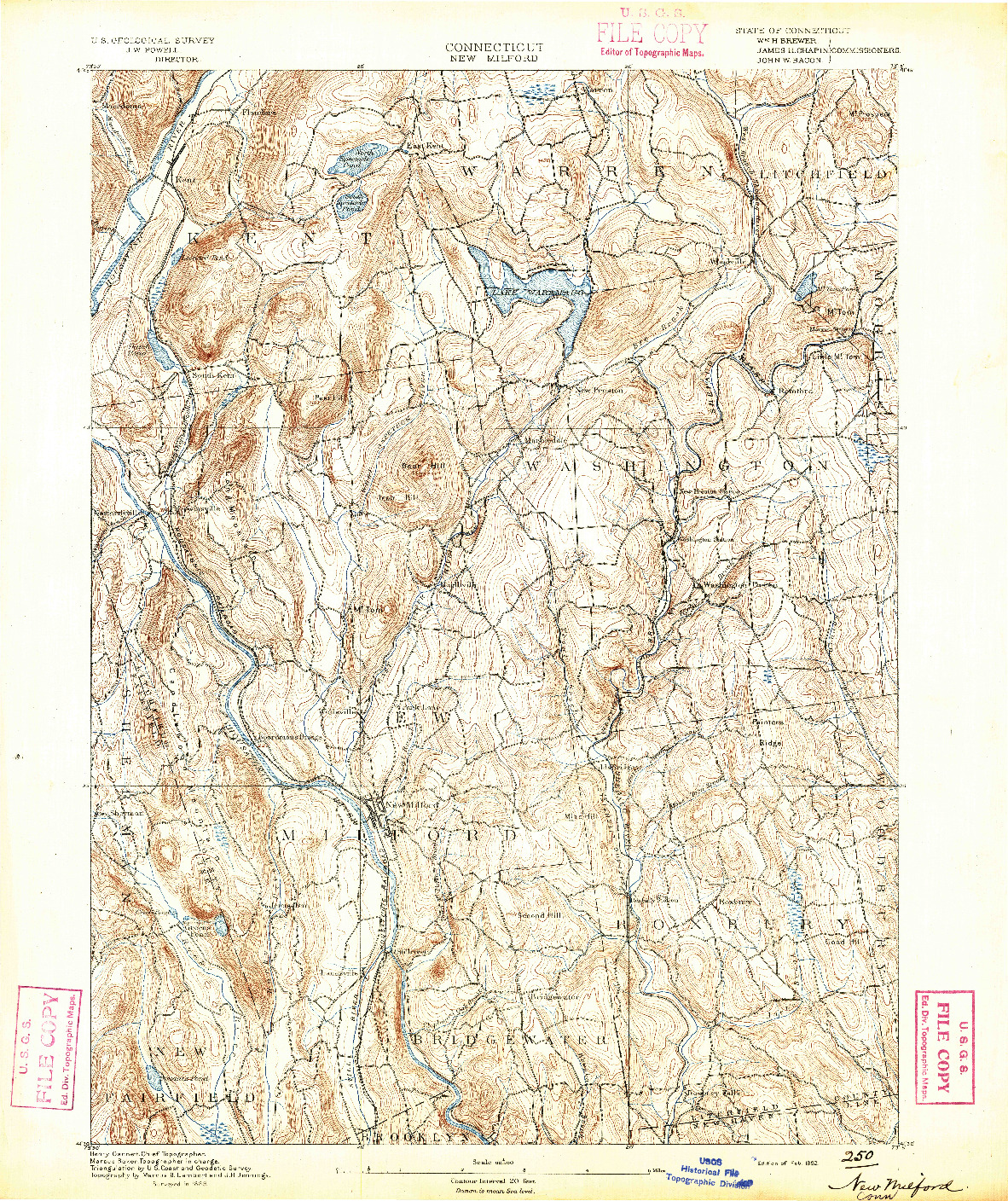 USGS 1:62500-SCALE QUADRANGLE FOR NEW MILFORD, CT 1892