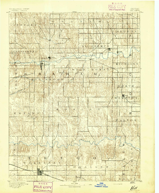 USGS 1:125000-SCALE QUADRANGLE FOR HILL, KS 1893