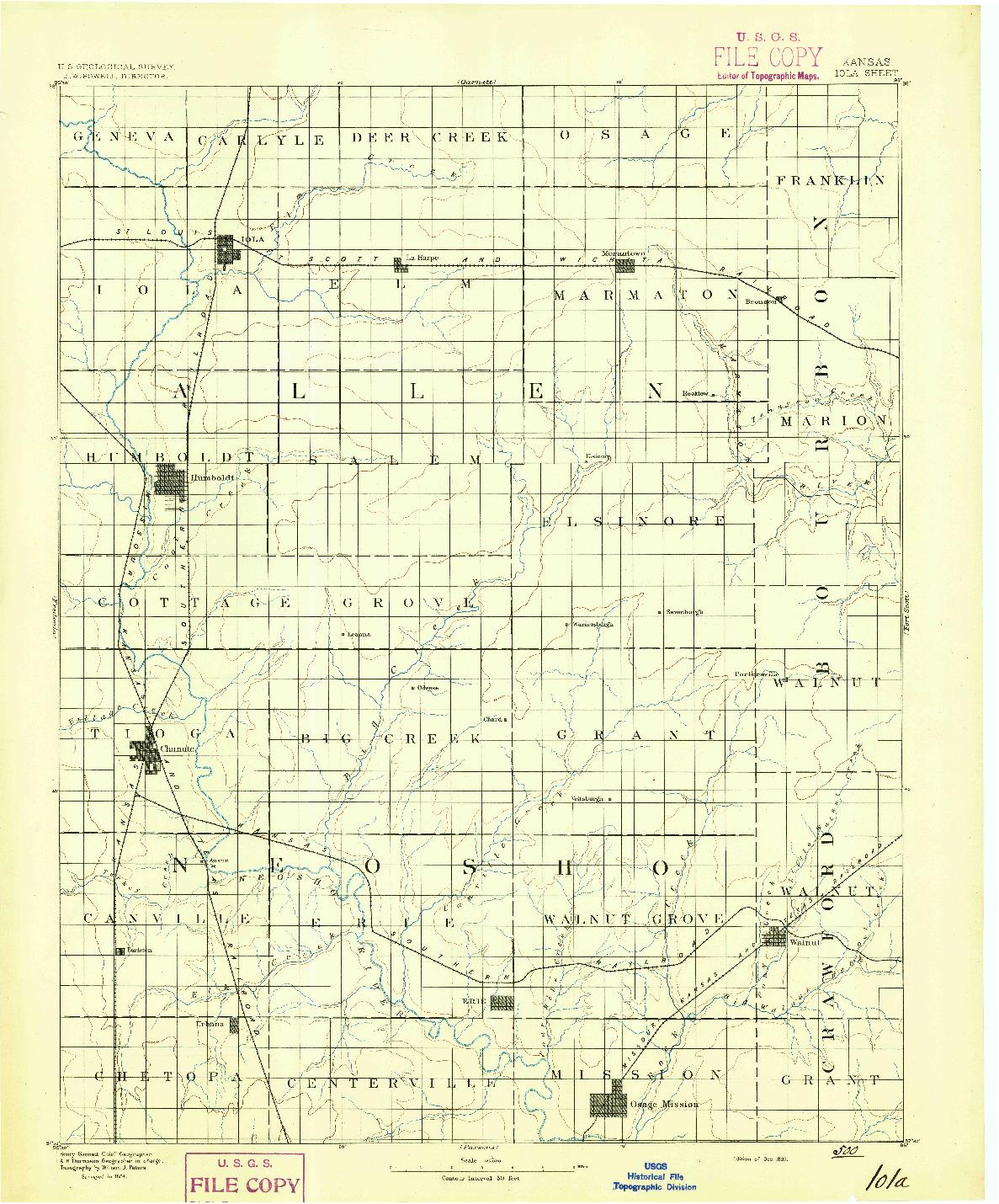 USGS 1:125000-SCALE QUADRANGLE FOR IOLA, KS 1893