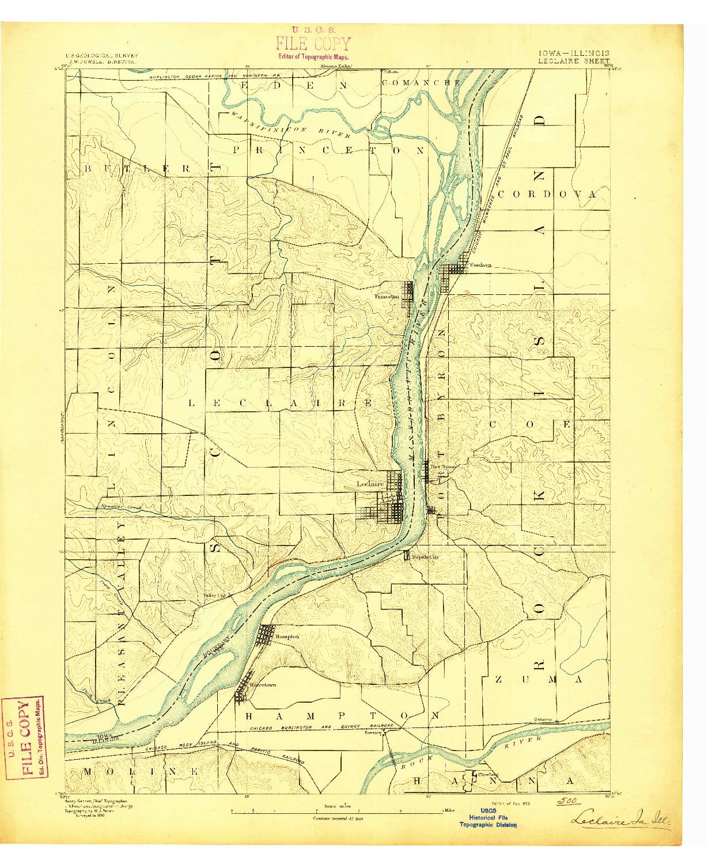 USGS 1:62500-SCALE QUADRANGLE FOR LECLAIRE, IA 1893