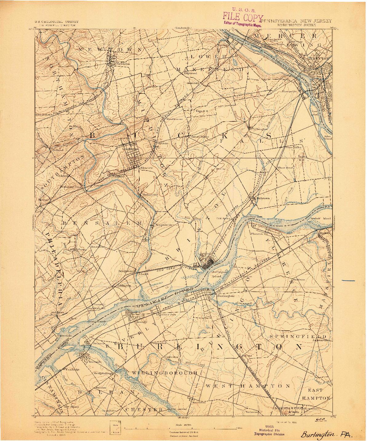 USGS 1:62500-SCALE QUADRANGLE FOR BURLINGTON, PA 1893