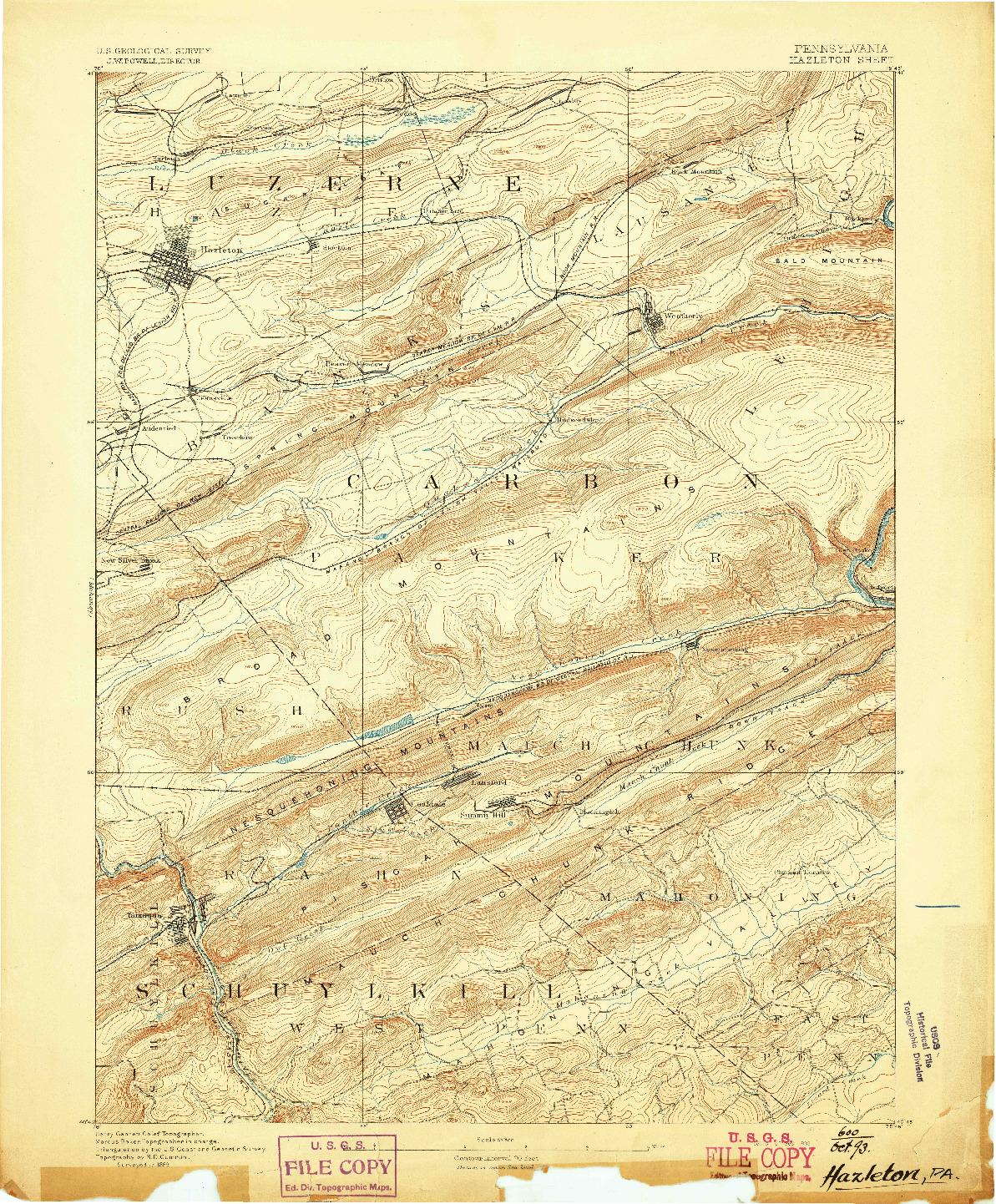 USGS 1:62500-SCALE QUADRANGLE FOR HAZLETON, PA 1893