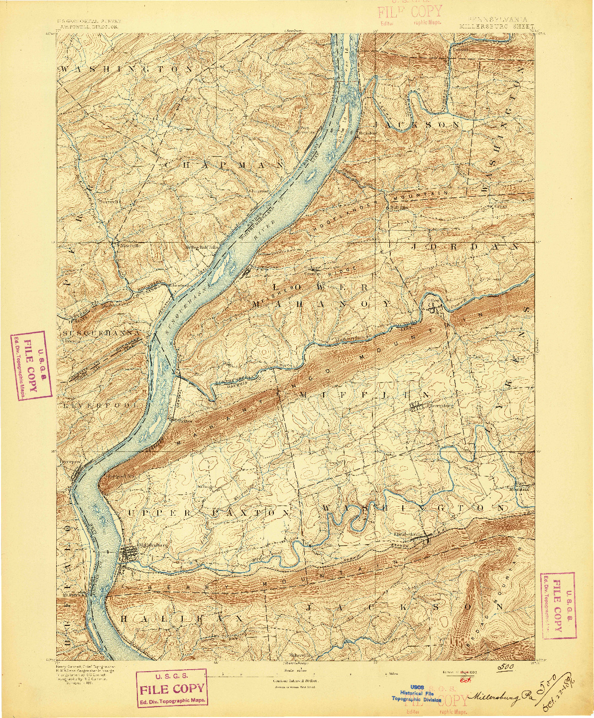 USGS 1:62500-SCALE QUADRANGLE FOR MILLERSBURG, PA 1893