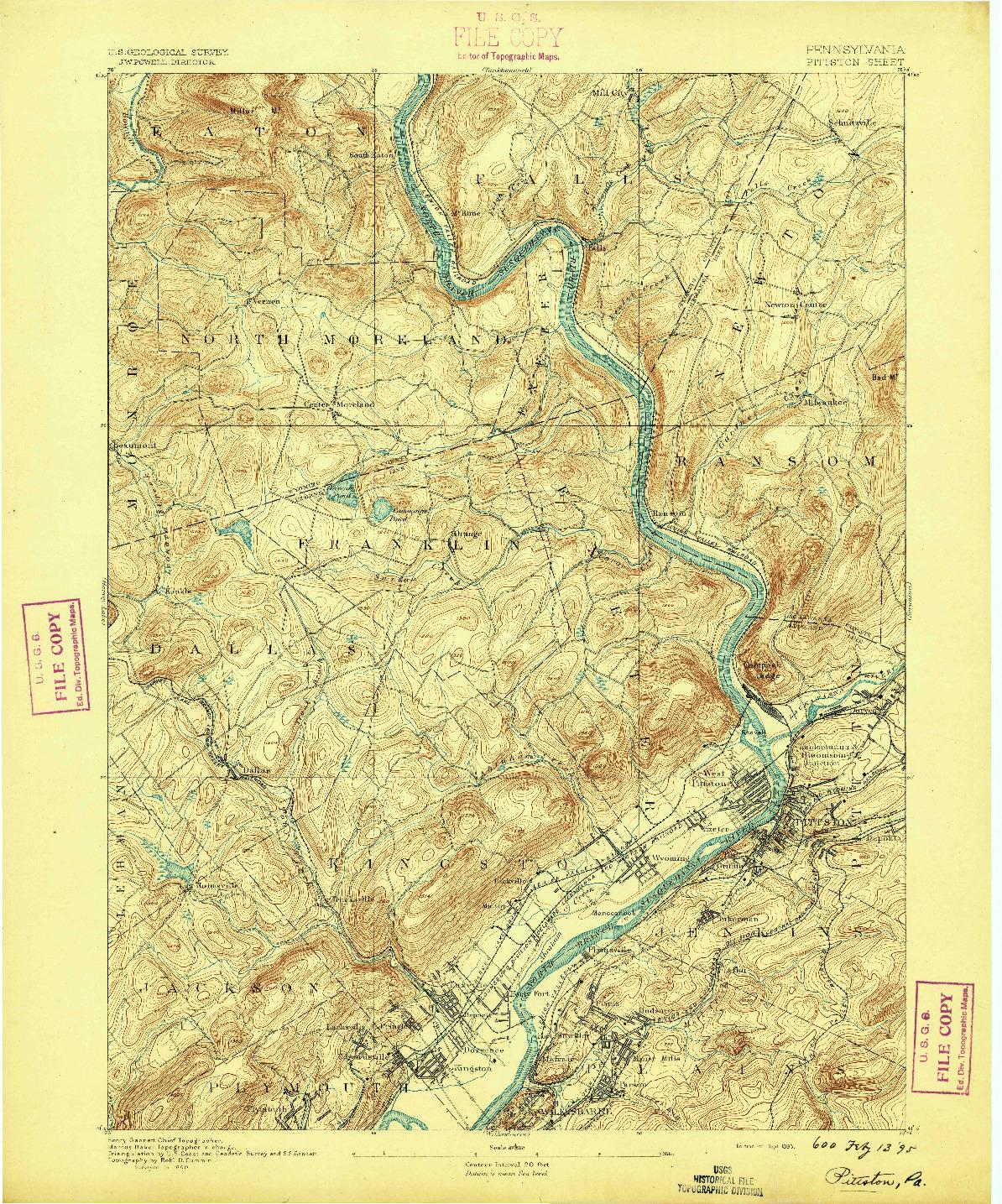 USGS 1:62500-SCALE QUADRANGLE FOR PITTSTON, PA 1893