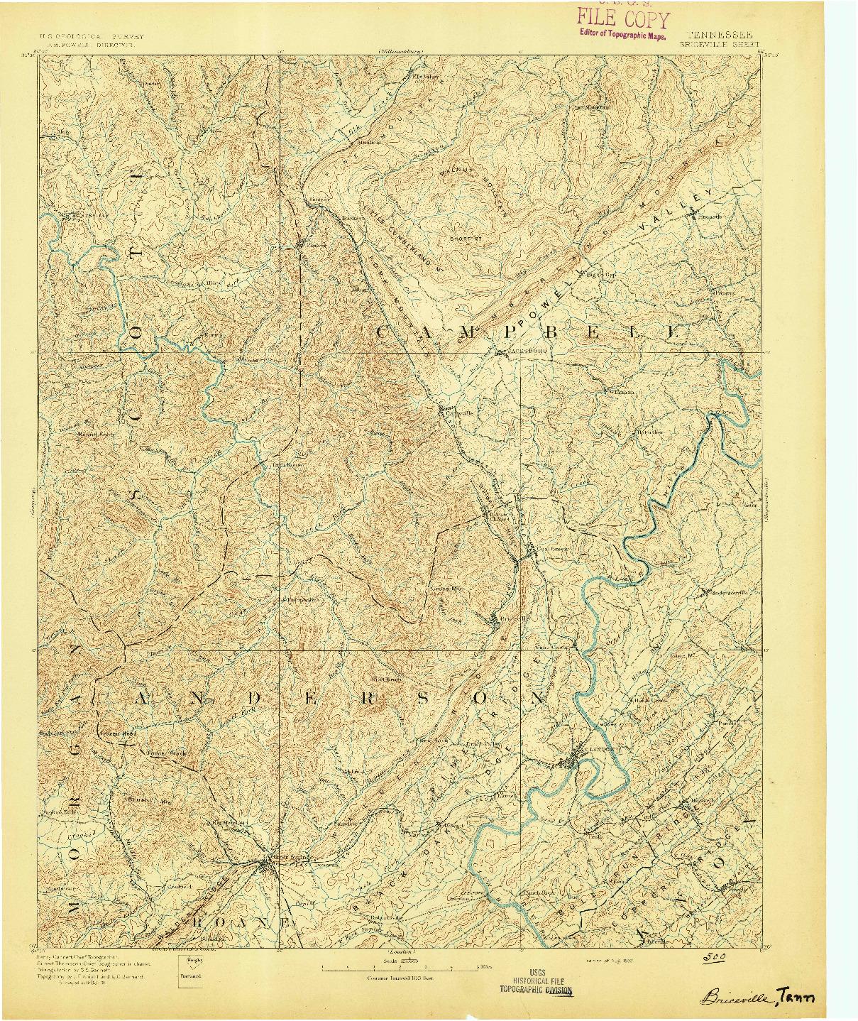 USGS 1:125000-SCALE QUADRANGLE FOR BRICEVILLE, TN 1893