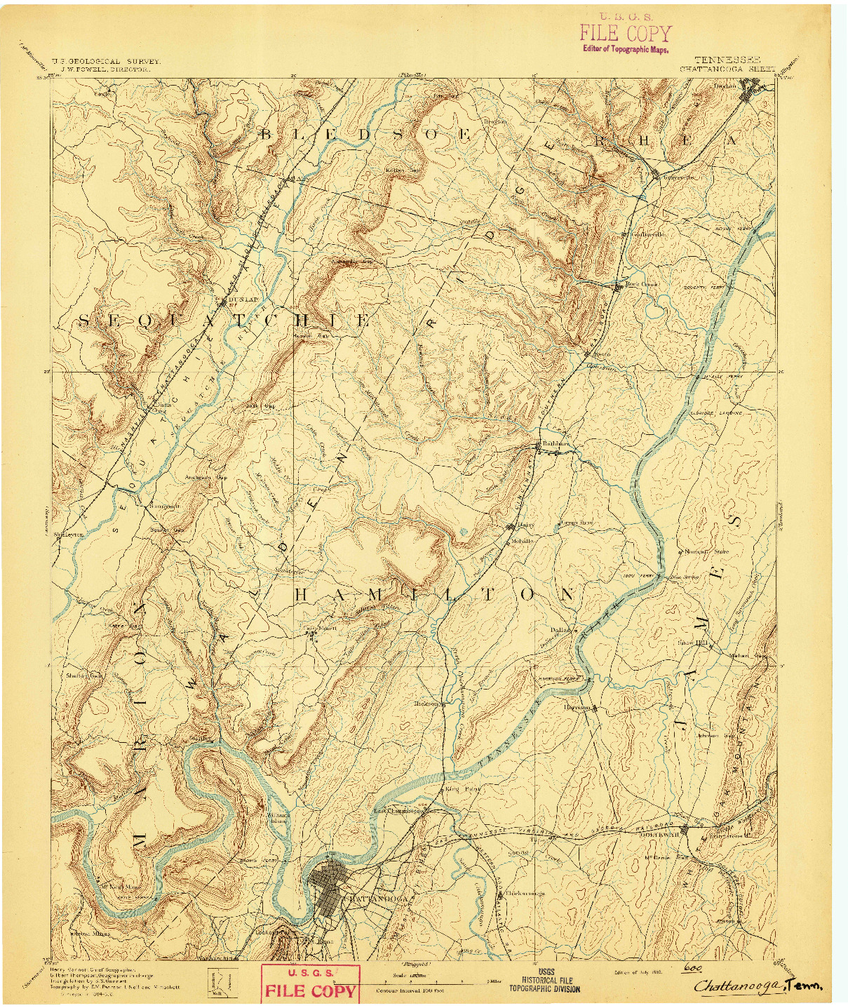 USGS 1:125000-SCALE QUADRANGLE FOR CHATTANOOGA, TN 1893