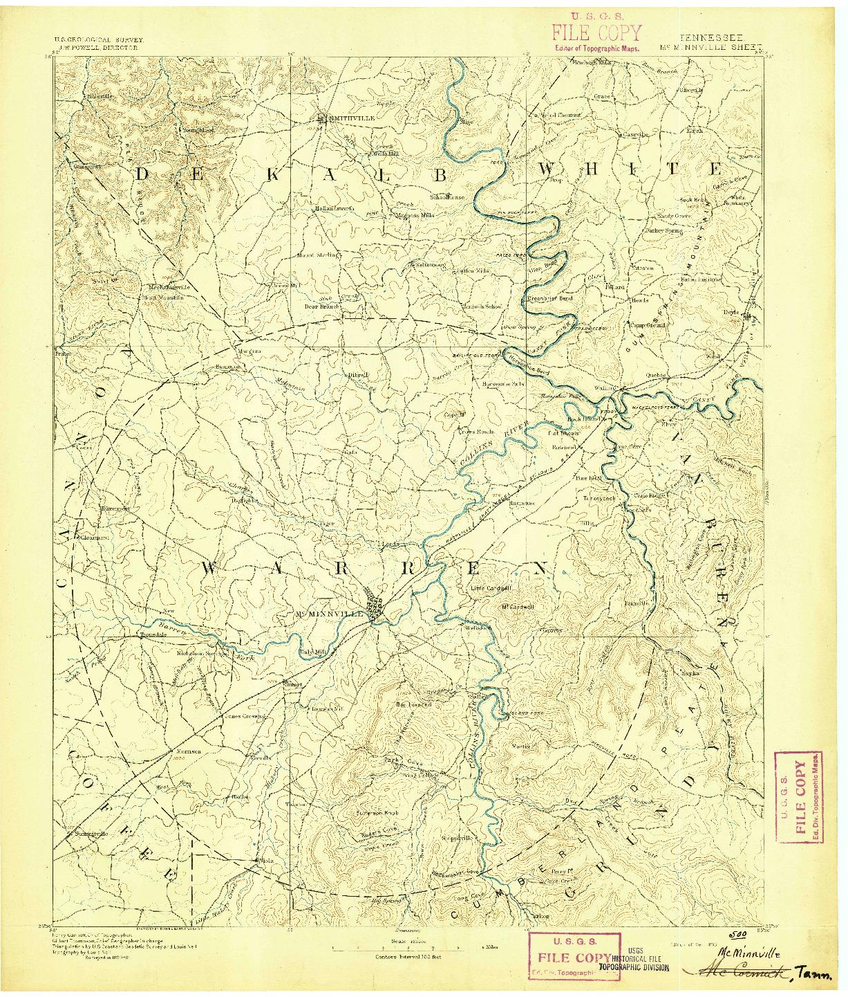 USGS 1:125000-SCALE QUADRANGLE FOR MC MINNVILLE, TN 1893