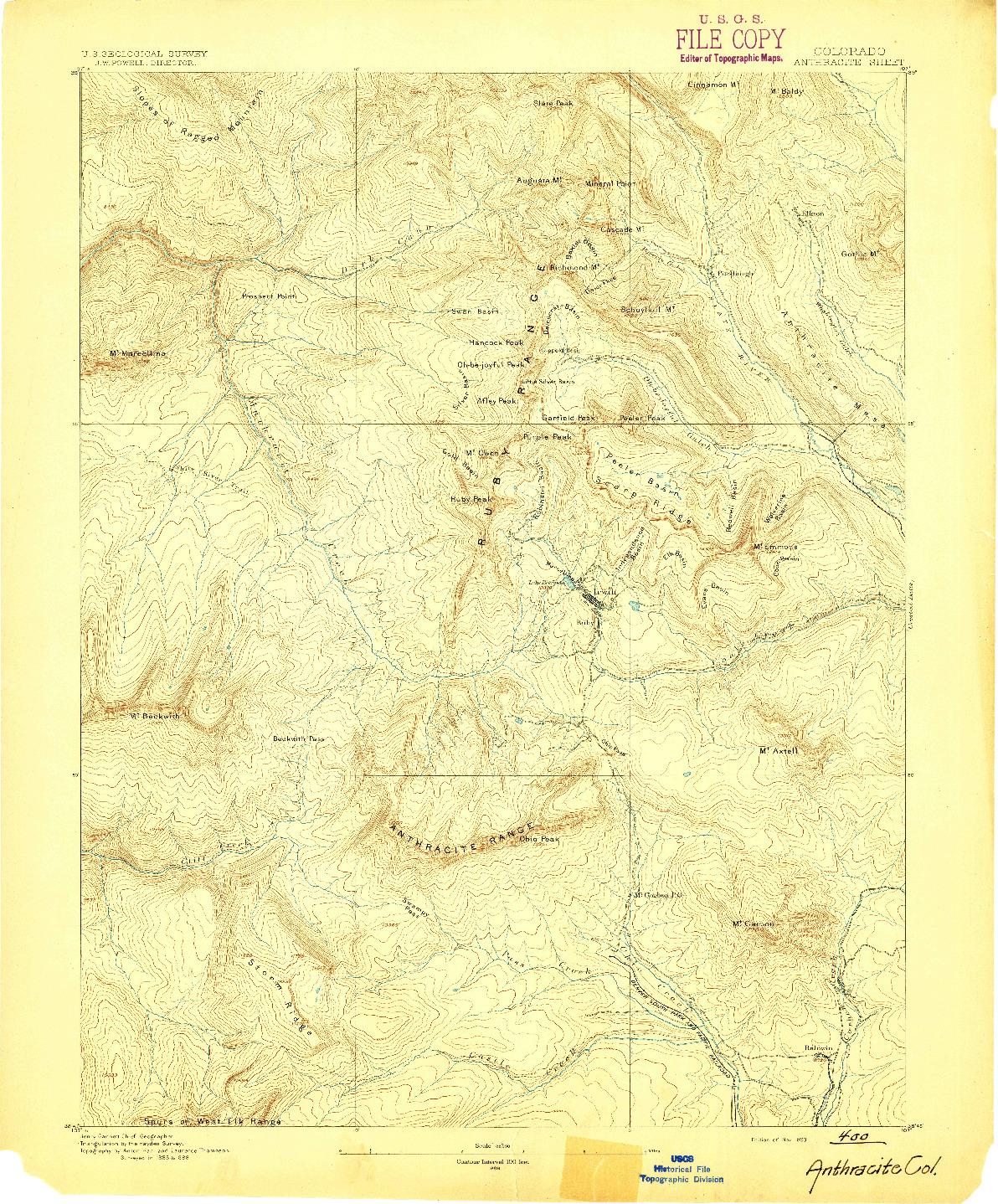 USGS 1:62500-SCALE QUADRANGLE FOR ANTHRACITE, CO 1893