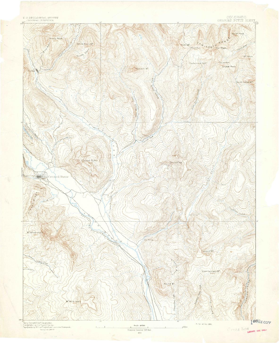 USGS 1:62500-SCALE QUADRANGLE FOR CRESTED BUTTE, CO 1893