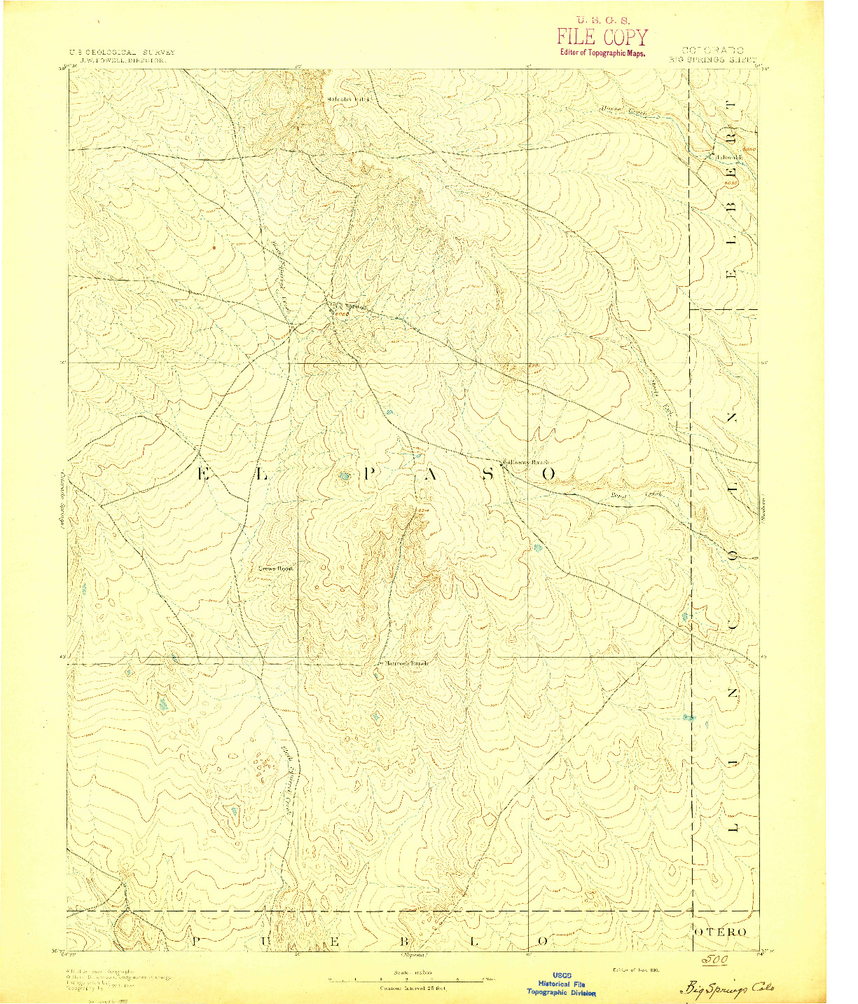 USGS 1:125000-SCALE QUADRANGLE FOR BIG SPRINGS, CO 1893