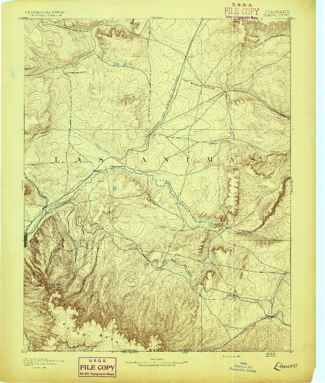 USGS 1:125000-SCALE QUADRANGLE FOR ELMORO, CO 1893