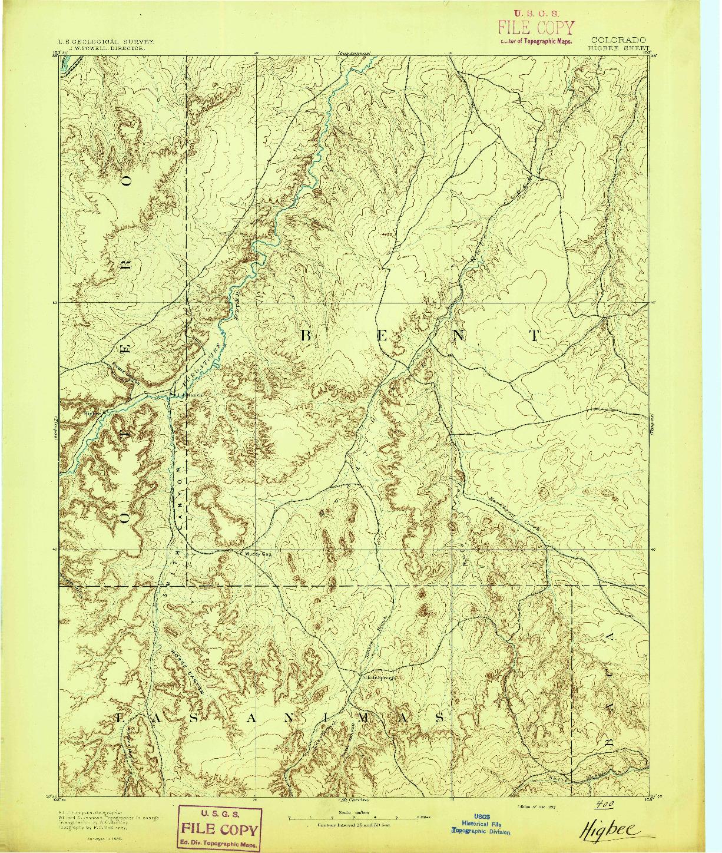 USGS 1:125000-SCALE QUADRANGLE FOR HIGBEE, CO 1893