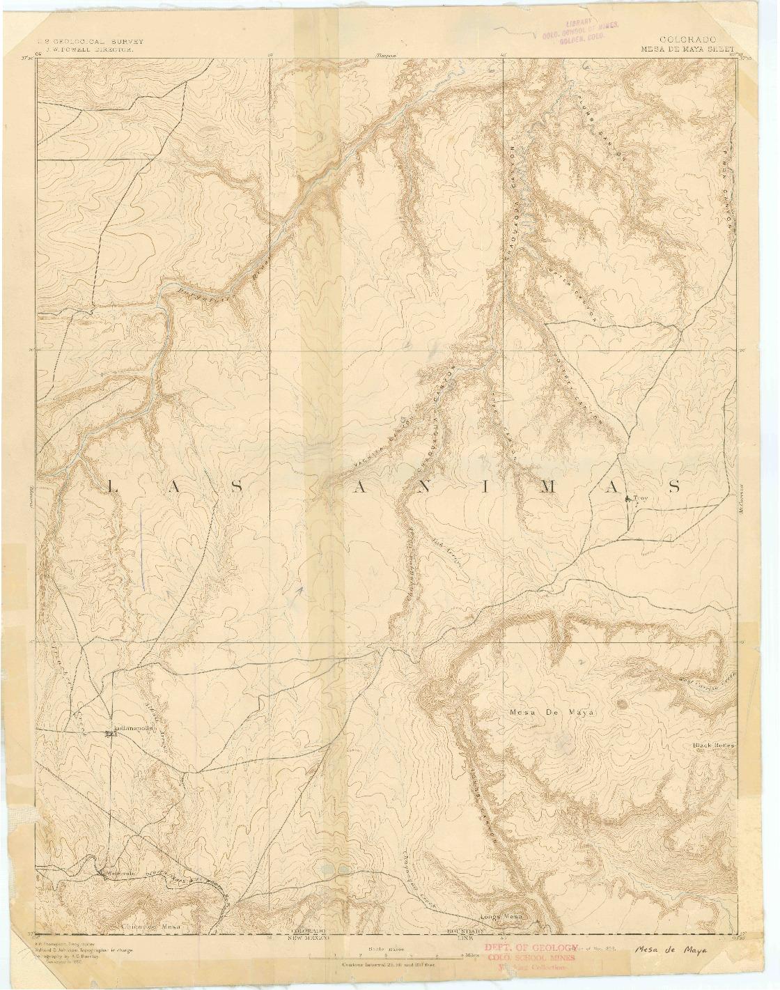 USGS 1:125000-SCALE QUADRANGLE FOR MESA DE MAYA, CO 1893