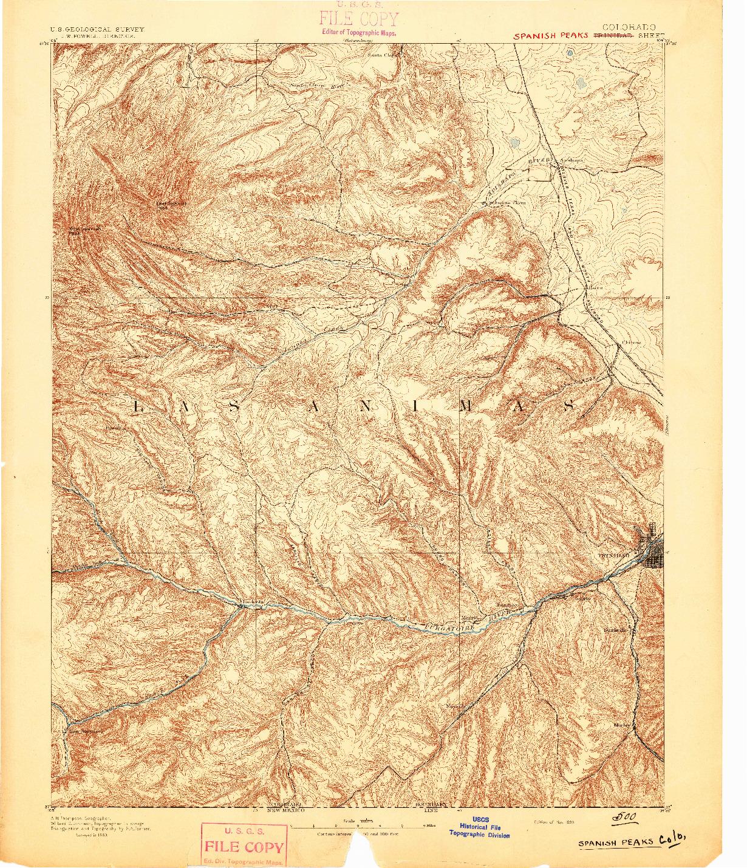 USGS 1:125000-SCALE QUADRANGLE FOR SPANISH PEAKS, CO 1893