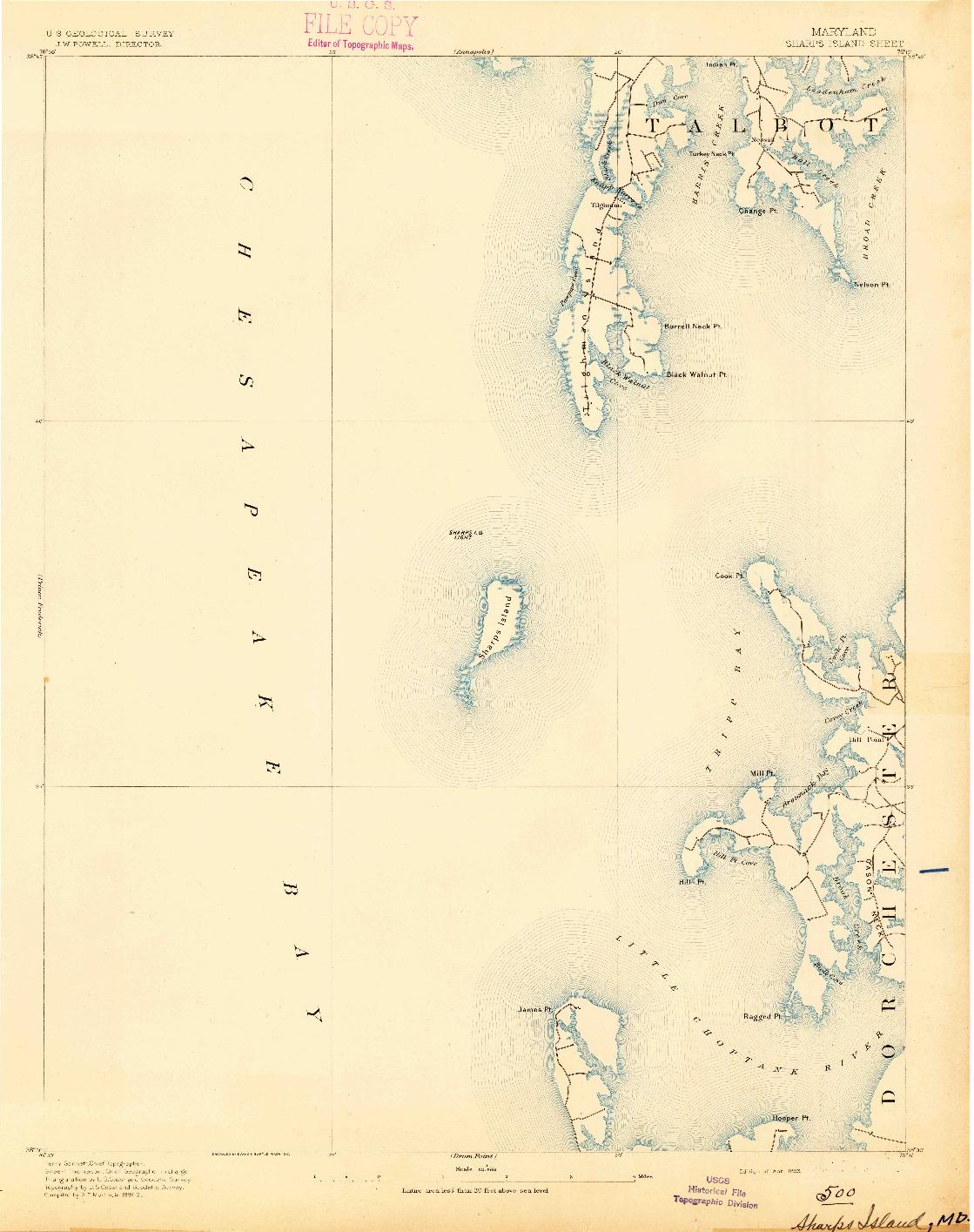 USGS 1:62500-SCALE QUADRANGLE FOR SHARPS ISLAND, MD 1893