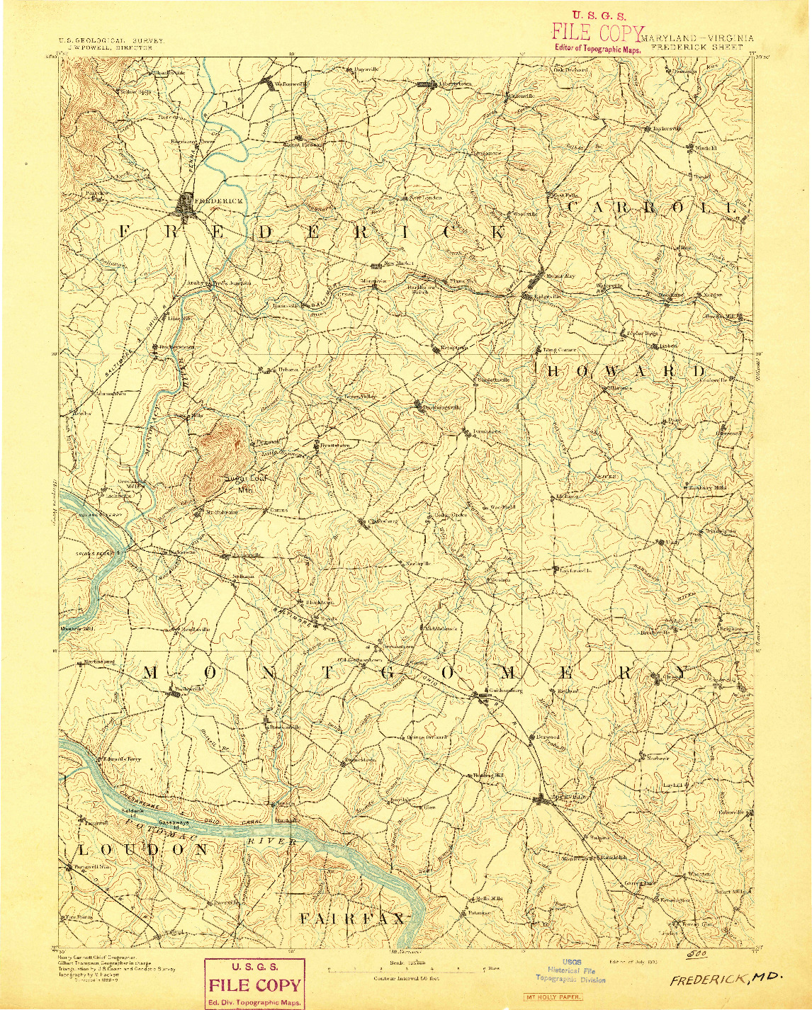 USGS 1:125000-SCALE QUADRANGLE FOR FREDERICK, MD 1893