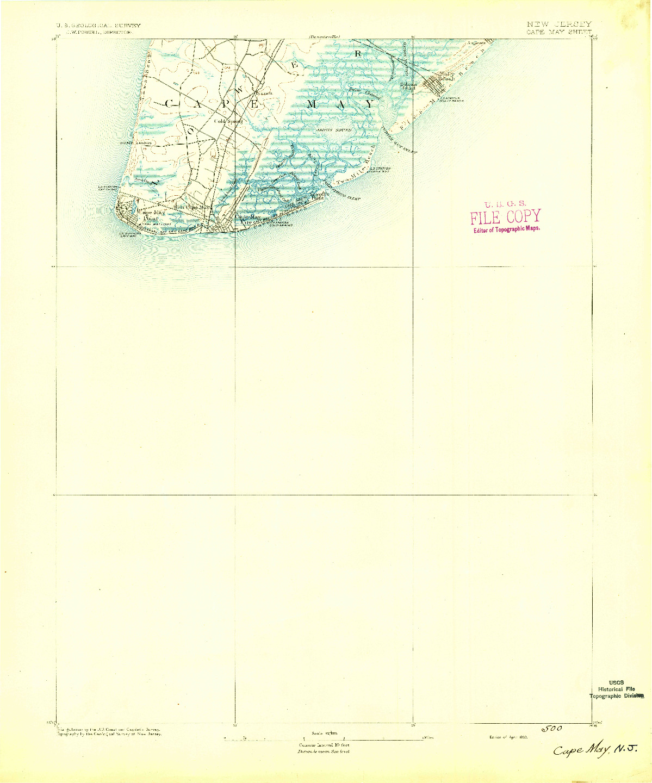 USGS 1:62500-SCALE QUADRANGLE FOR CAPE MAY, NJ 1893