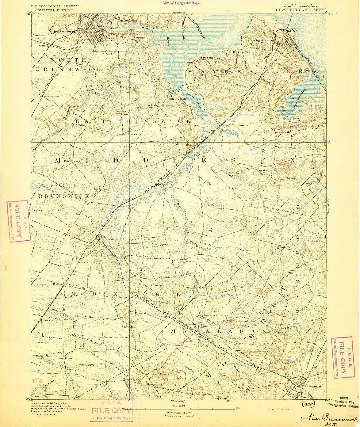 USGS 1:62500-SCALE QUADRANGLE FOR NEW BRUNSWICK, NJ 1893