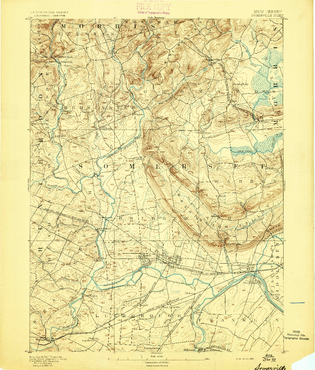 USGS 1:62500-SCALE QUADRANGLE FOR SOMERVILLE, NJ 1893