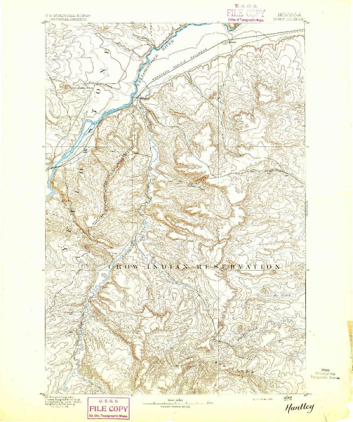 USGS 1:125000-SCALE QUADRANGLE FOR HUNTLEY, MT 1893