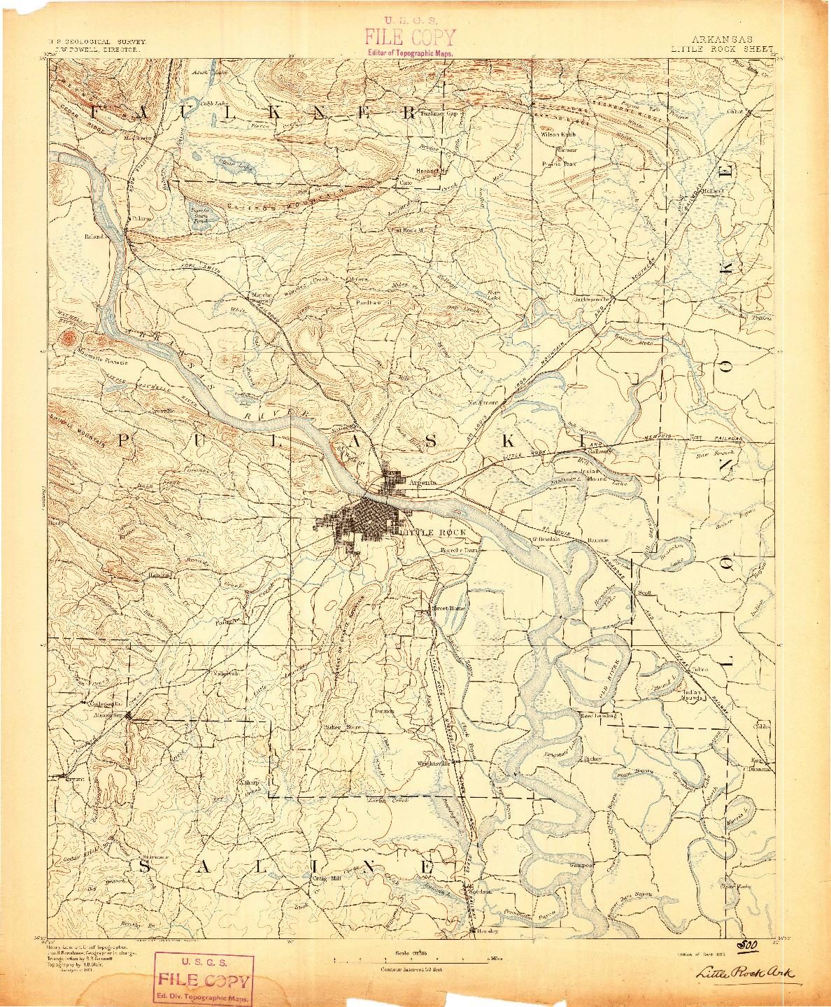 USGS 1:125000-SCALE QUADRANGLE FOR LITTLE ROCK, AR 1893