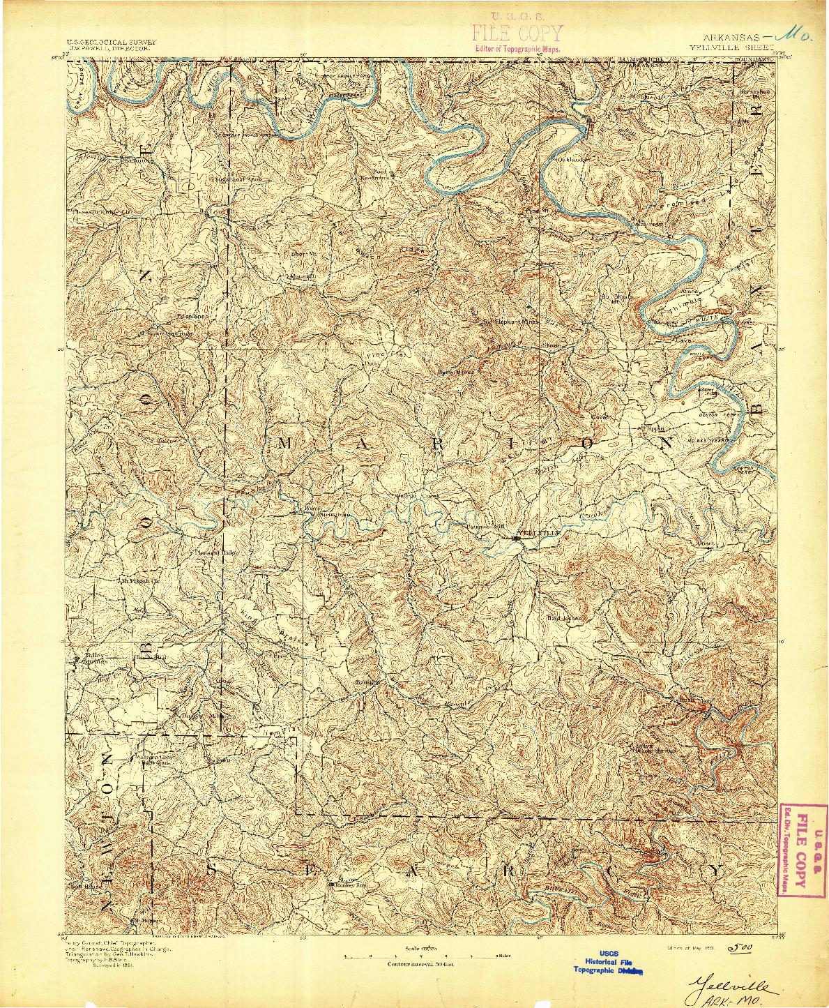 USGS 1:125000-SCALE QUADRANGLE FOR YELLVILLE, AR 1893