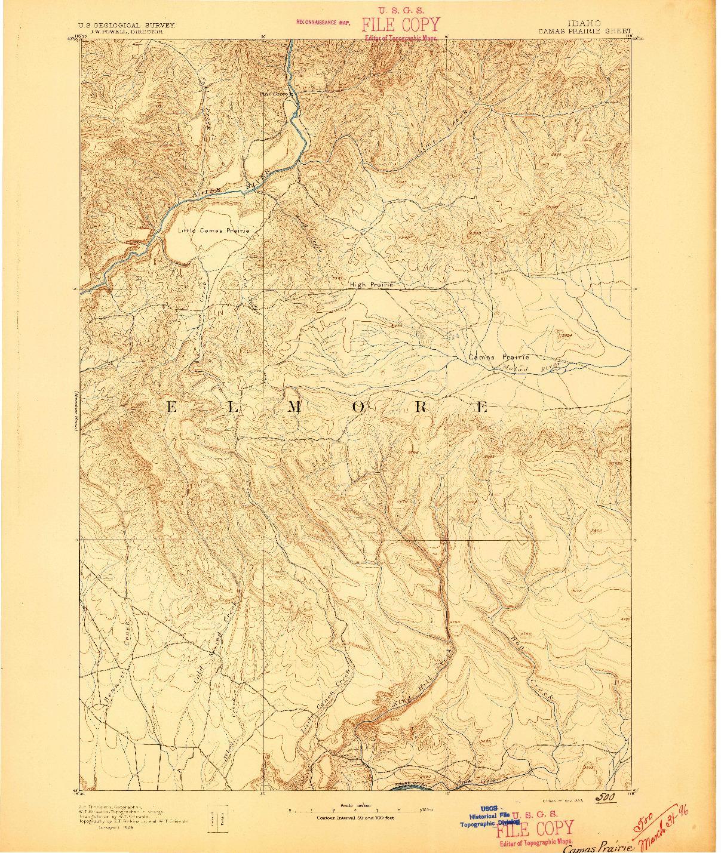 USGS 1:125000-SCALE QUADRANGLE FOR CAMAS PRAIRIE, ID 1893