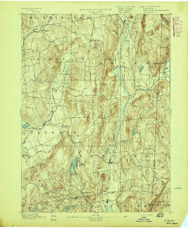 USGS 1:62500-SCALE QUADRANGLE FOR CLOVE, NY 1893