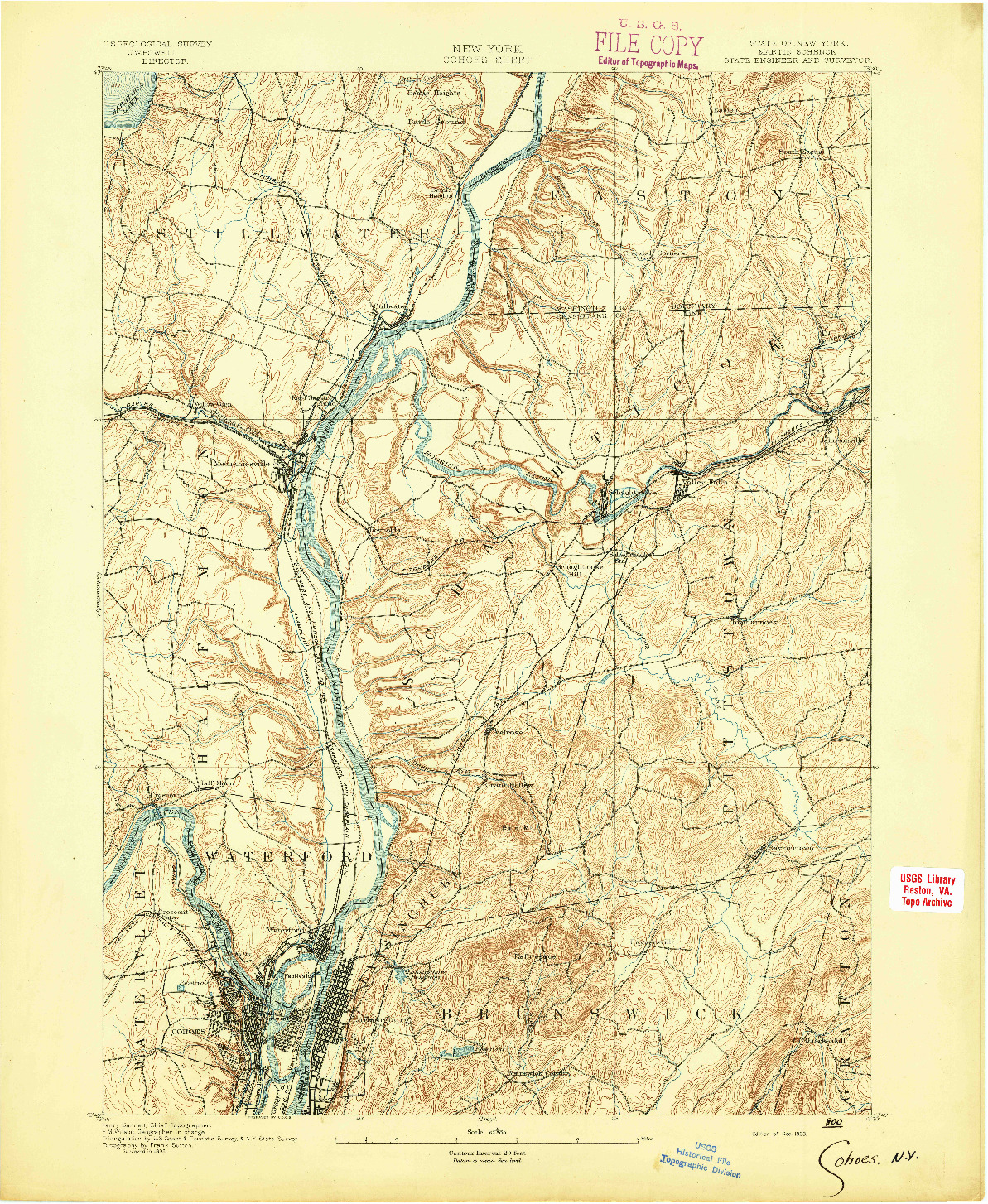 USGS 1:62500-SCALE QUADRANGLE FOR COHOES, NY 1893