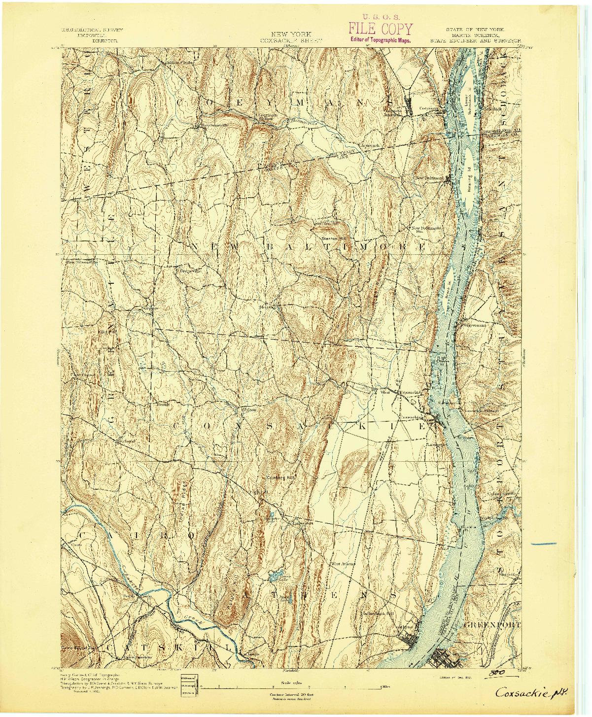 USGS 1:62500-SCALE QUADRANGLE FOR COXSACKIE, NY 1893